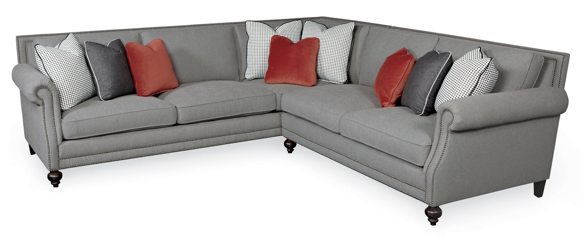 Sectional Sofas With Nailheads Throughout Favorite Sectional Sofa Design: Nailhead Sectional Sofa Fabric Leather (View 15 of 20)