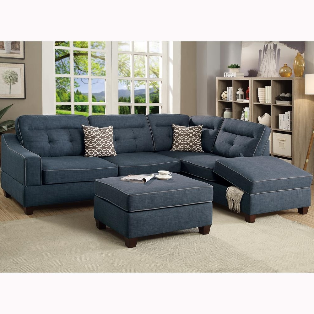 Sectional Sofas With Ottoman In Recent Venetian Worldwide Capri 3 Piece Dark Blue Sectional Sofa With (View 11 of 20)
