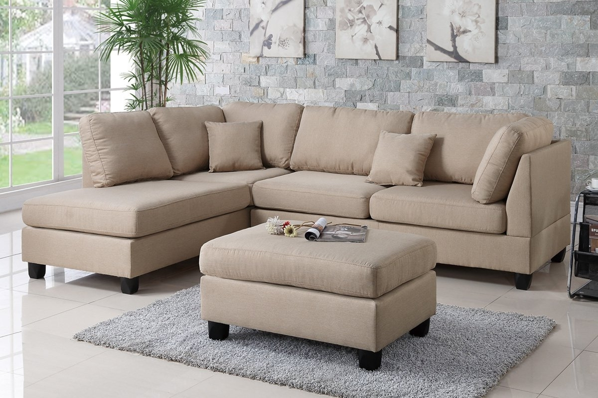 Sectional Sofas With Ottoman With Regard To Preferred Poundex Bobkona F7605 Sand Reversible Chaise Sectional Sofa & Ottoman (View 12 of 20)