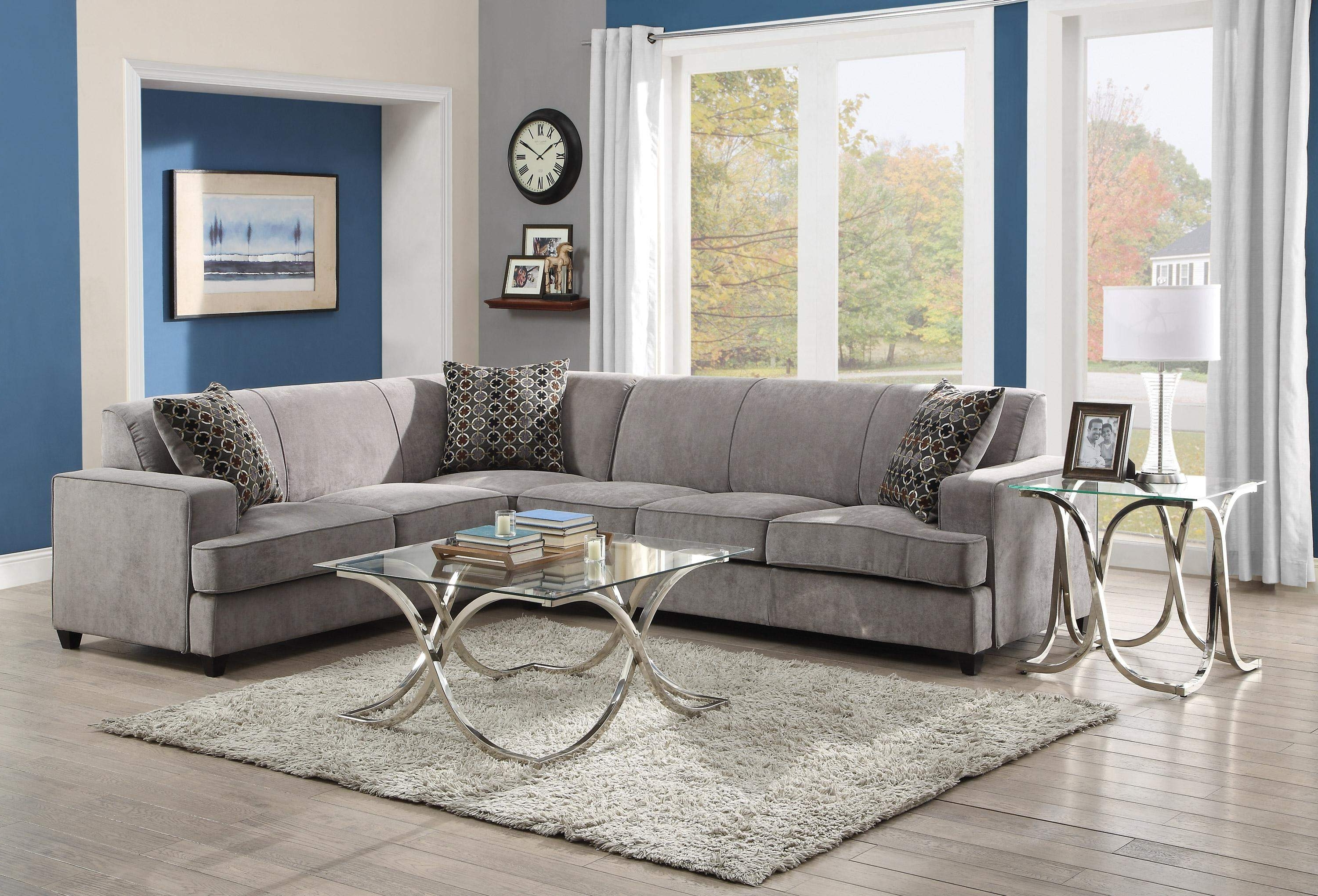 Sectional Sofas With Queen Size Sleeper Throughout 2019 Tess Casual Grey Fabric Sectional Sofa For Corners With Queen Size (View 16 of 20)