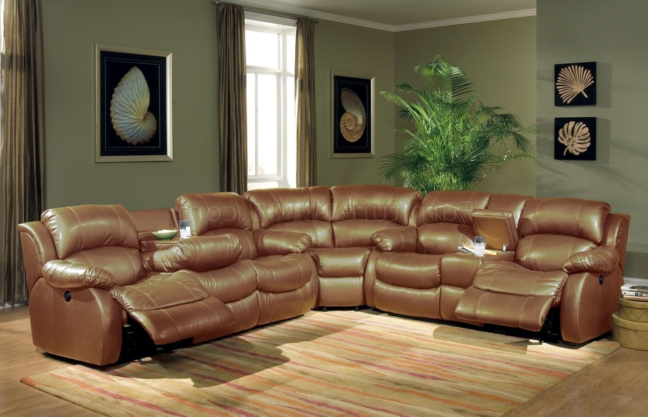 Sectional Sofas With Recliners Leather Throughout Well Known Transitional Brown Bonded Leather Sectional W/recliner Mechanism (View 16 of 20)
