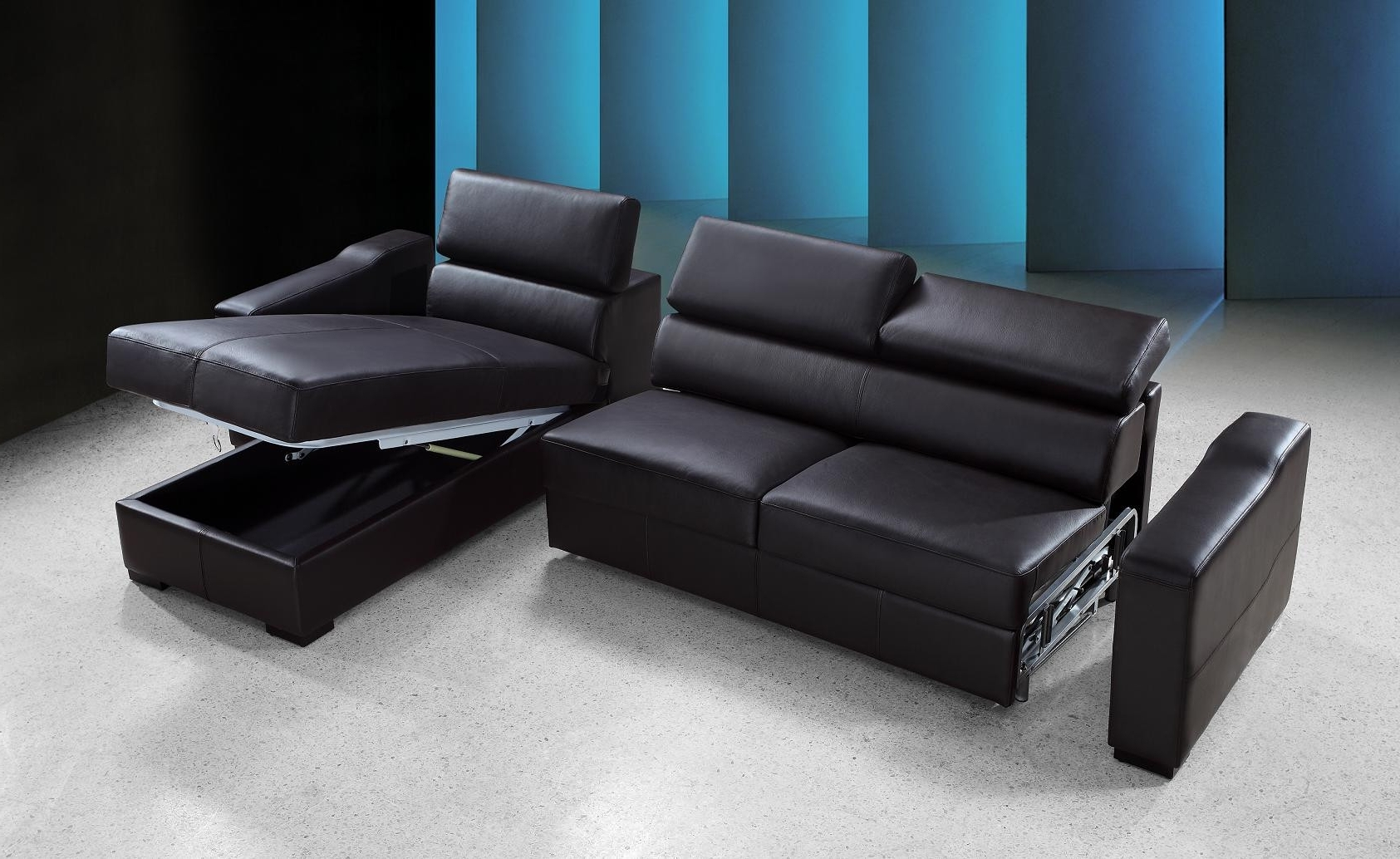 Sectional Sofas With Storage In Well Known Reversible Espresso Leather Sectional Sofa Bed W/ Storage (View 5 of 20)