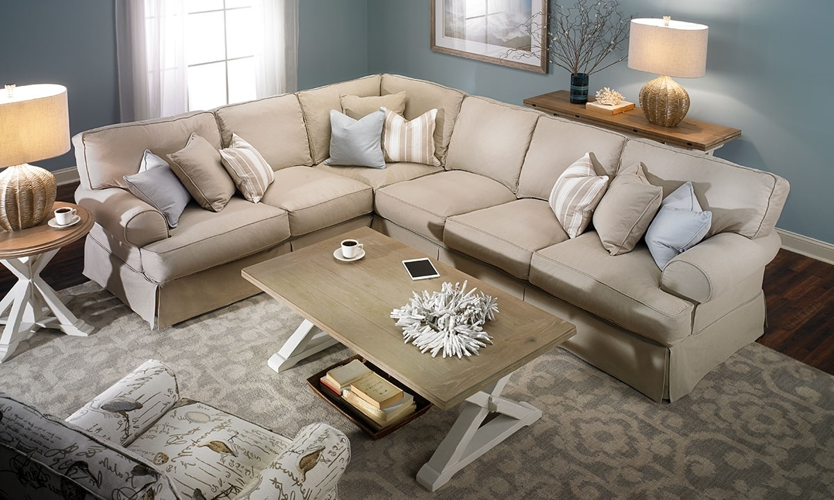Sectional Sofas With Trendy Two Lanes Classic Roll Arm Slipcovered Sectional (View 16 of 20)
