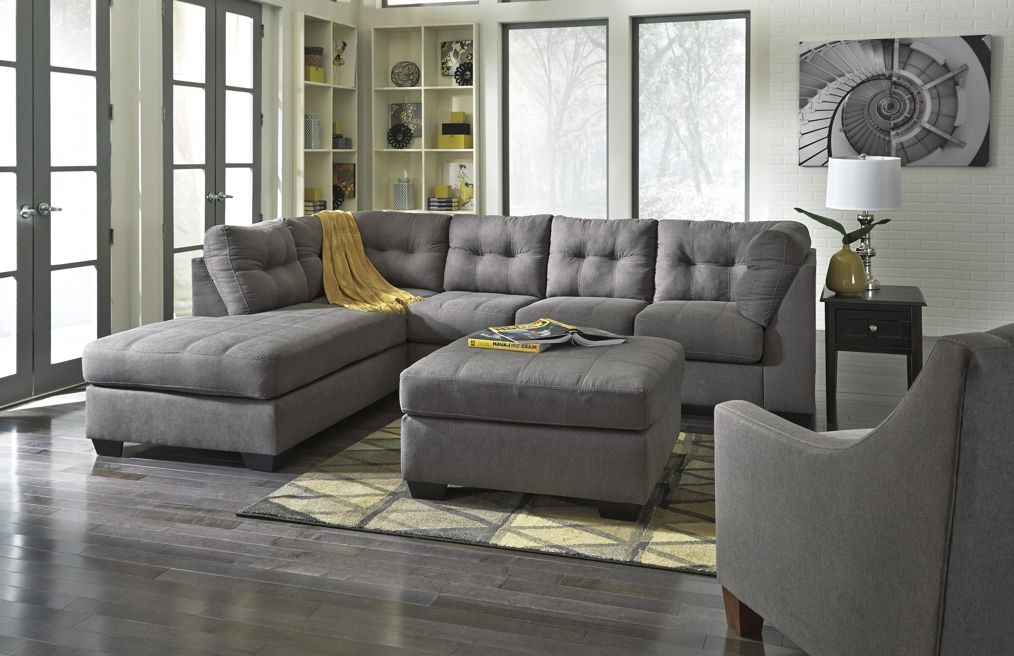 Sectionals With Chaise And Ottoman Inside 2019 Benchcraft Maier – Charcoal 2 Piece Sectional With Left Chaise (View 7 of 20)