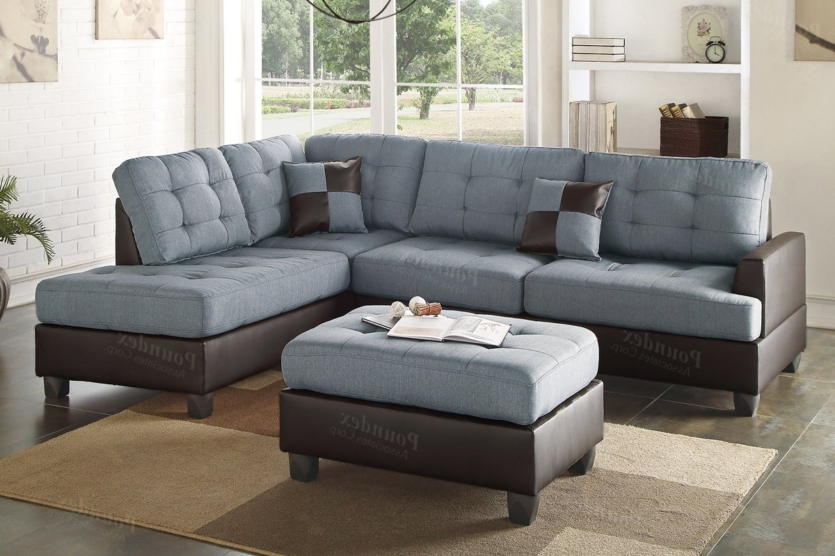 Sectionals With Ottoman In Trendy Poundex Bobkona Matthew Reversible Sectional With Ottoman (View 14 of 20)