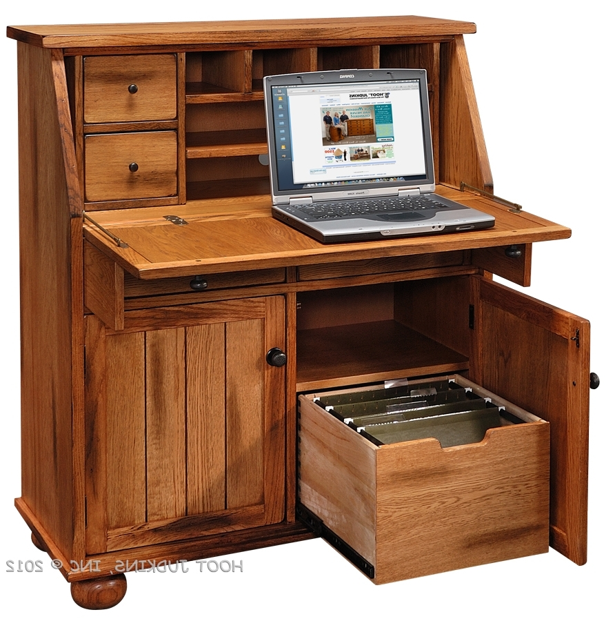 Sedona Rustic Oak Wood Drop Lid Laptop Desk Medium (View 17 of 20)