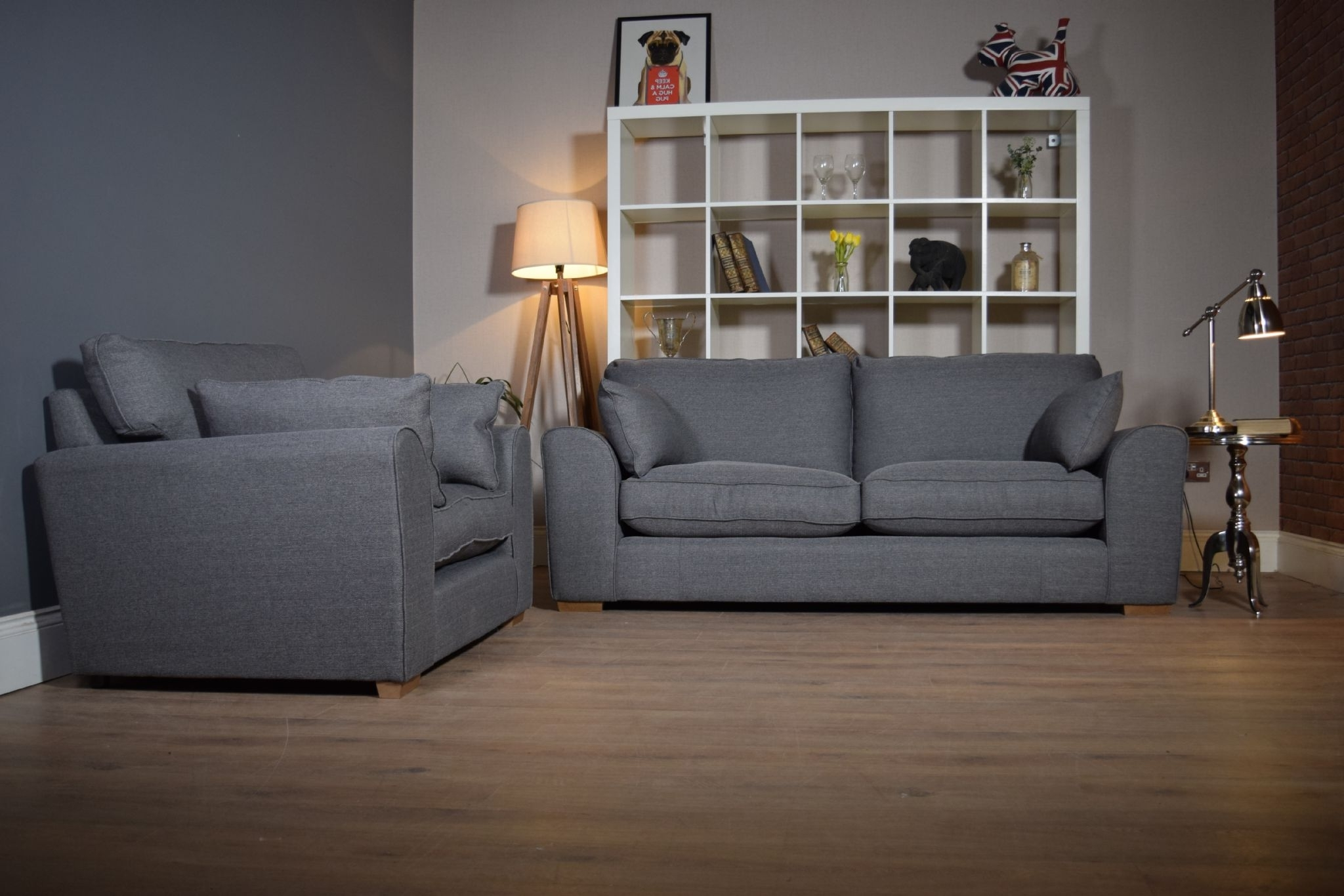 Set Ashdown 3 Seater Sofa & Cuddle Chair Set – Grey – Out Of Stock Intended For Fashionable 3 Seater Sofas And Cuddle Chairs (View 17 of 20)
