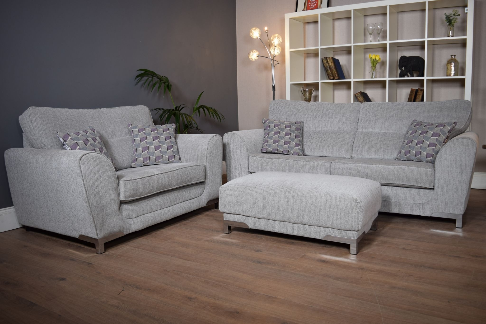 Set Nikki 3 Seater Sofa Cuddle Chair & Footstool Suite Set – Light With Regard To Widely Used 3 Seater Sofas And Cuddle Chairs (View 18 of 20)