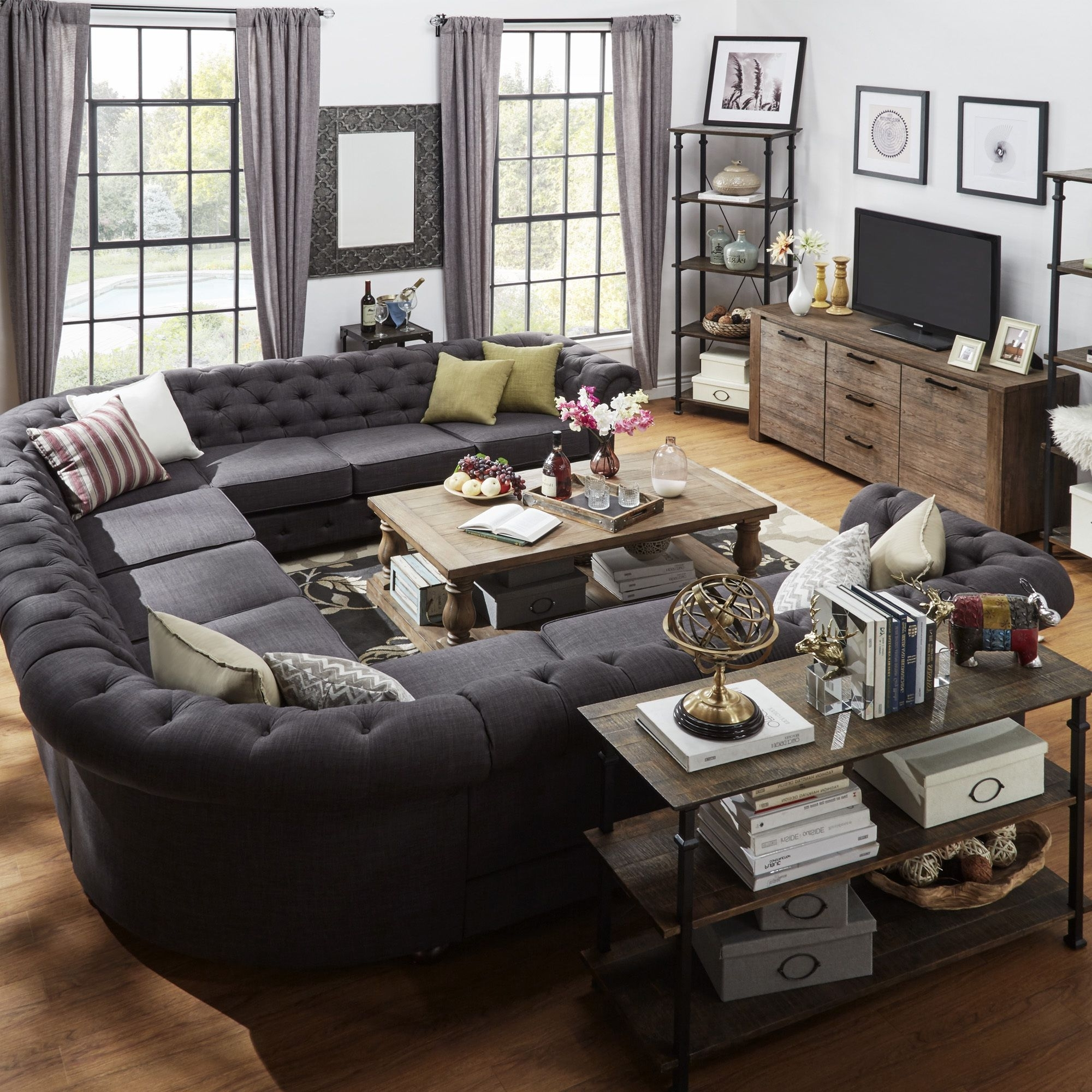 Signal Hills Knightsbridge Tufted Scroll Arm Chesterfield 11 Seat With Recent Gray U Shaped Sectionals