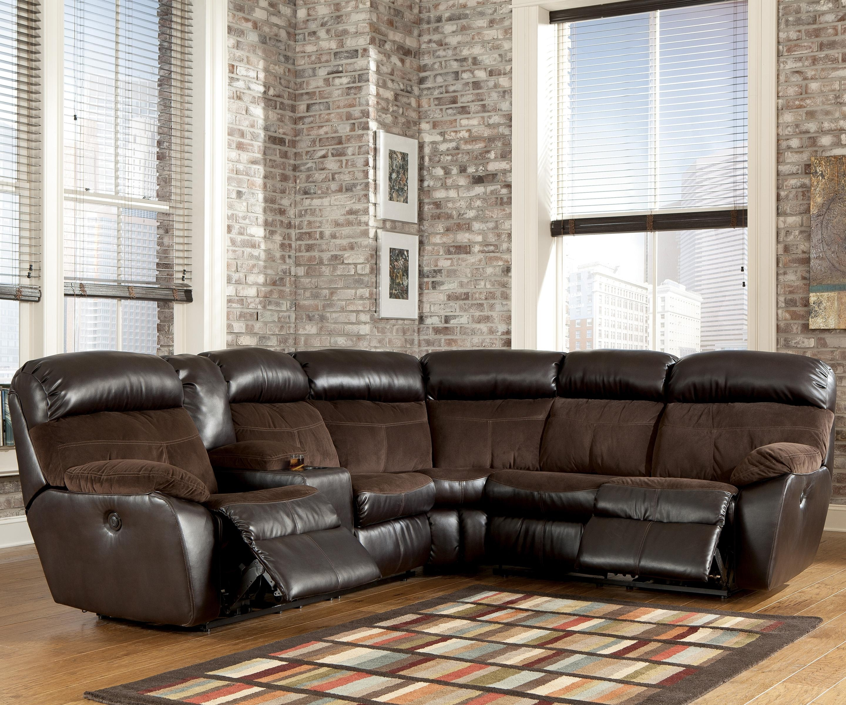 Signature Designashley Berneen – Coffee Reclining Sectional Regarding Fashionable Hattiesburg Ms Sectional Sofas (View 12 of 20)