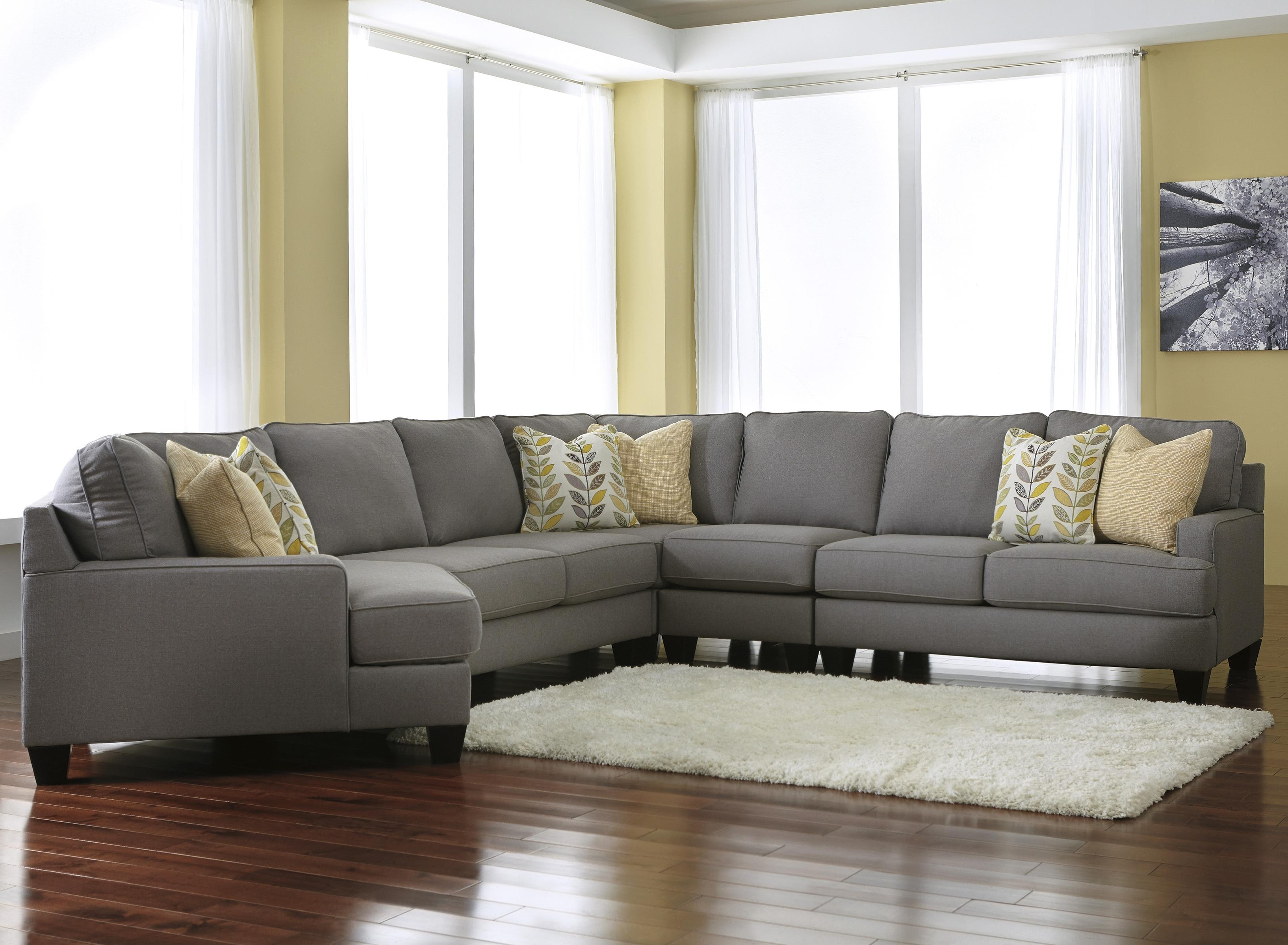 Signature Designashley Chamberly – Alloy Modern 5 Piece Inside Most Recent Sectional Sofas With Cuddler Chaise (View 19 of 20)