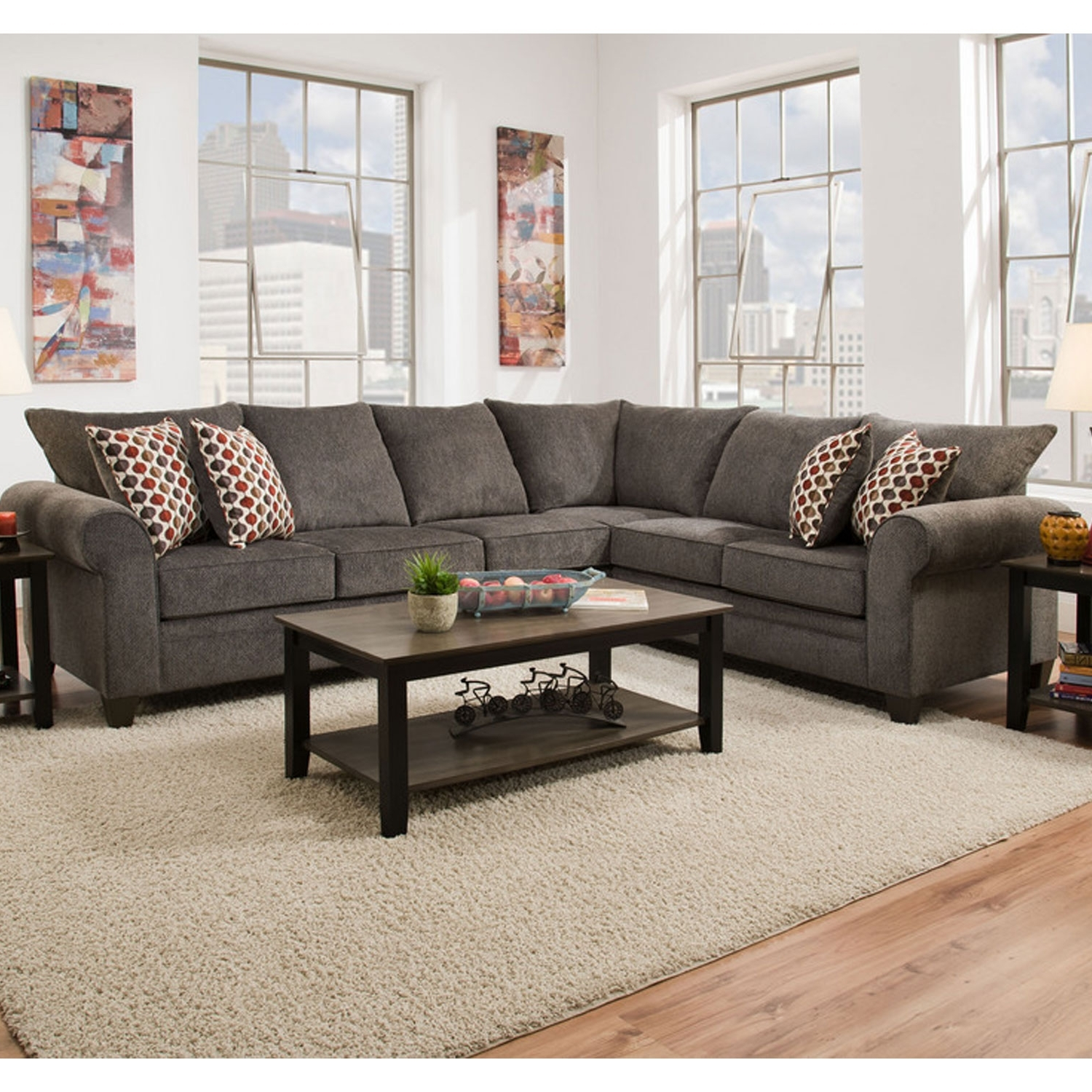 Simmons 1647 Sectional Sofa Albany Pewter (View 5 of 20)