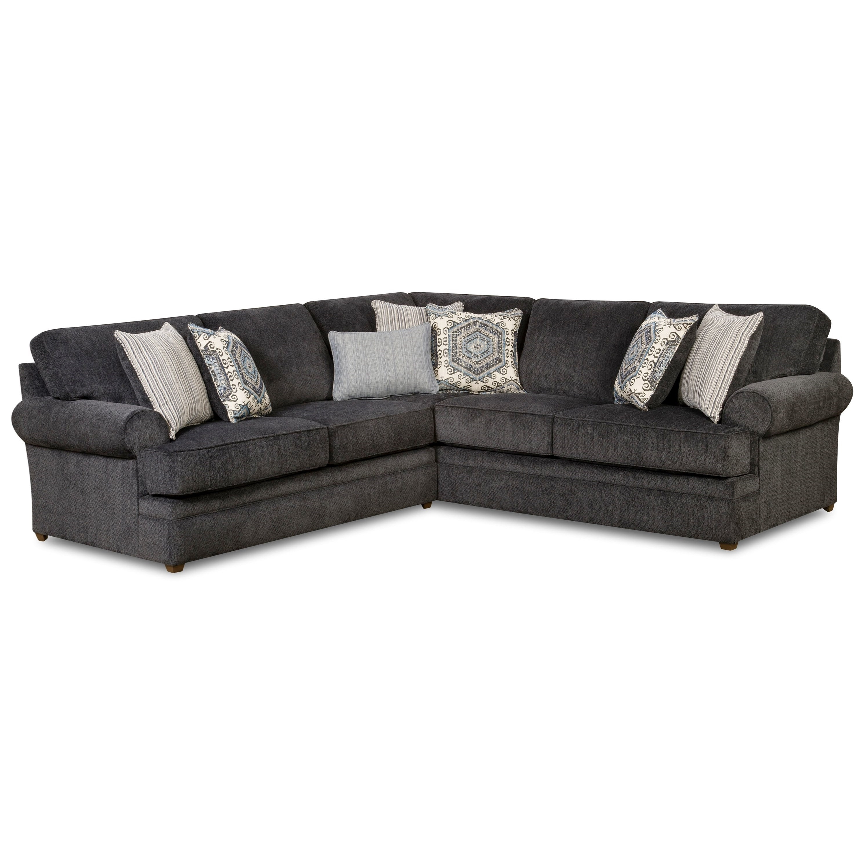 Simmons Upholstery 8530 Br Transitional Sectional Sofa With Rolled With  Regard To Widely Used Sectional Sofas