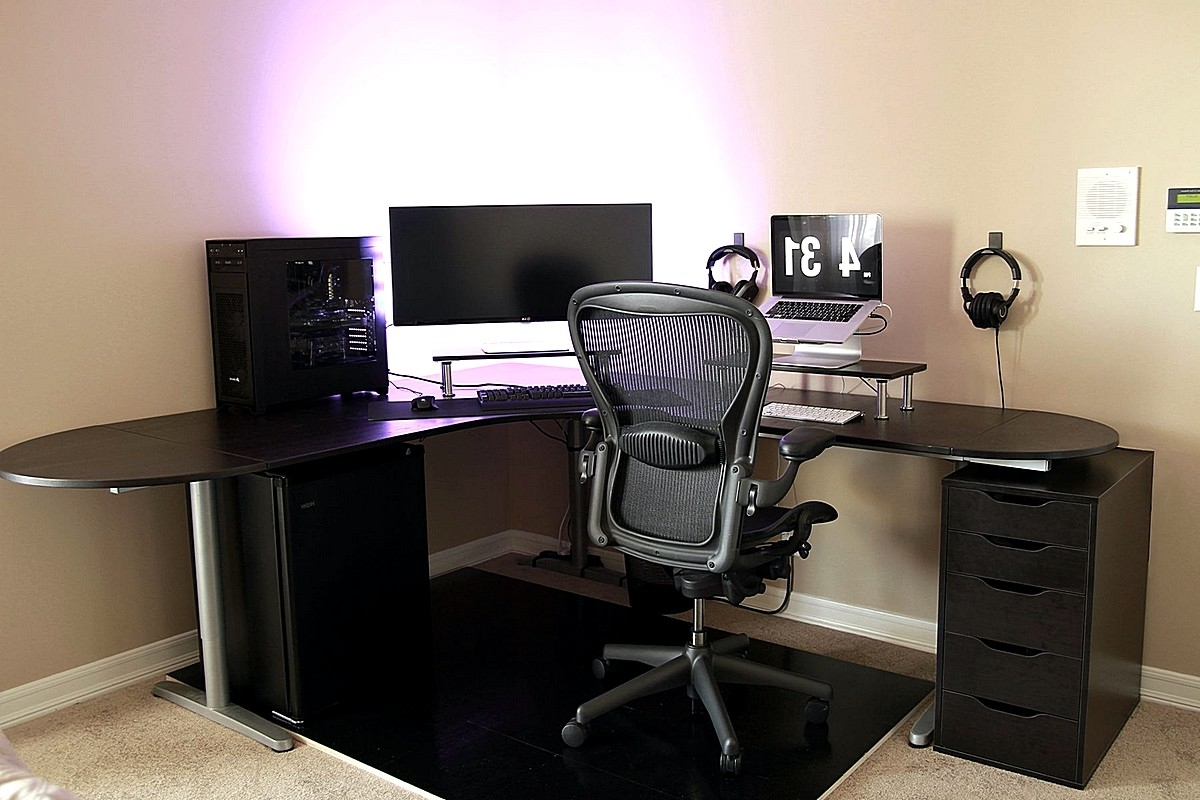 Simple Battlestation With Ikea Galant Bekant Desk In Black Intended For Best And Newest Ikea Galant Computer Desks (View 4 of 20)