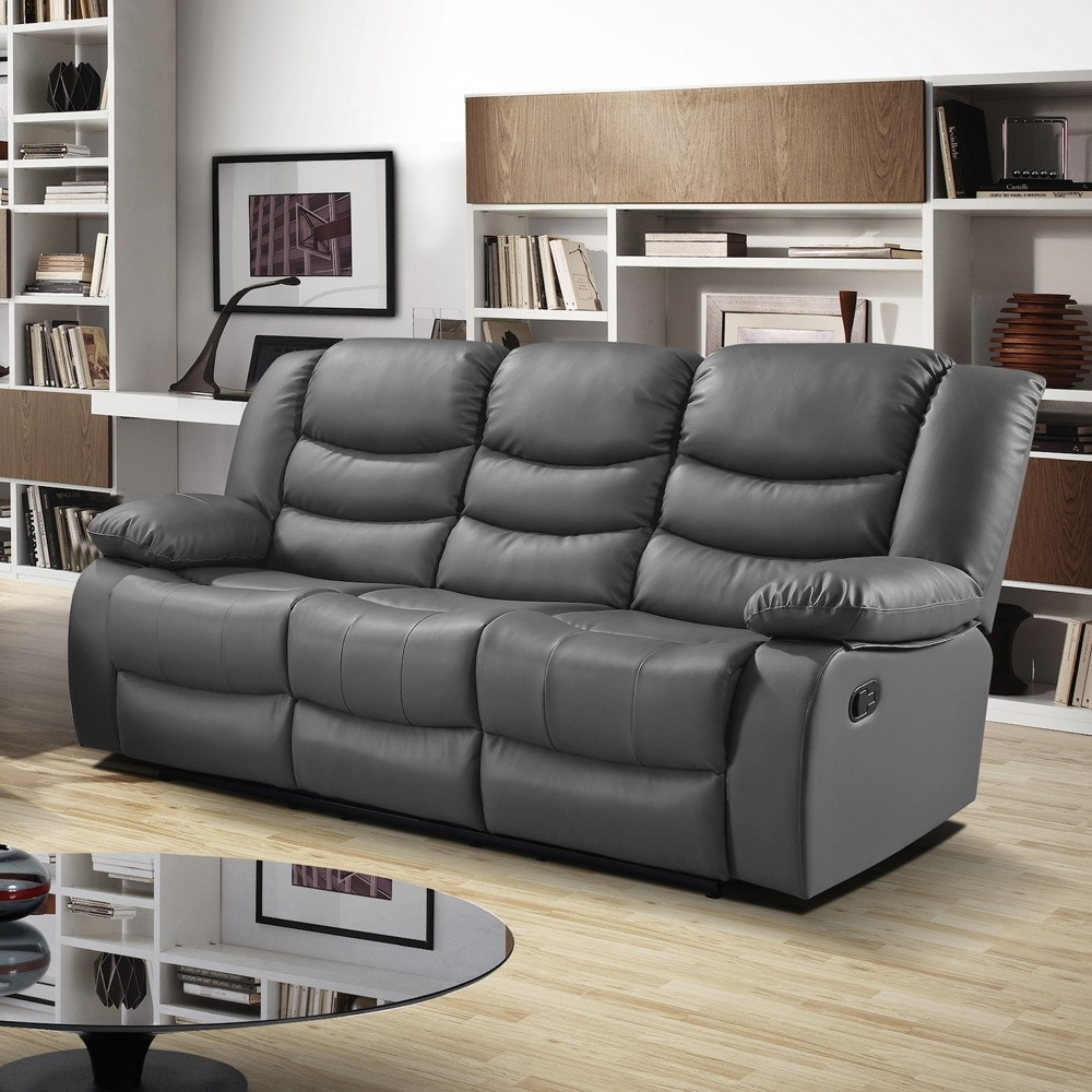 Slate Dark Grey Recliner Sofa Collection In Bonded Leather Pertaining To Most Current Recliner Sofas (View 16 of 17)