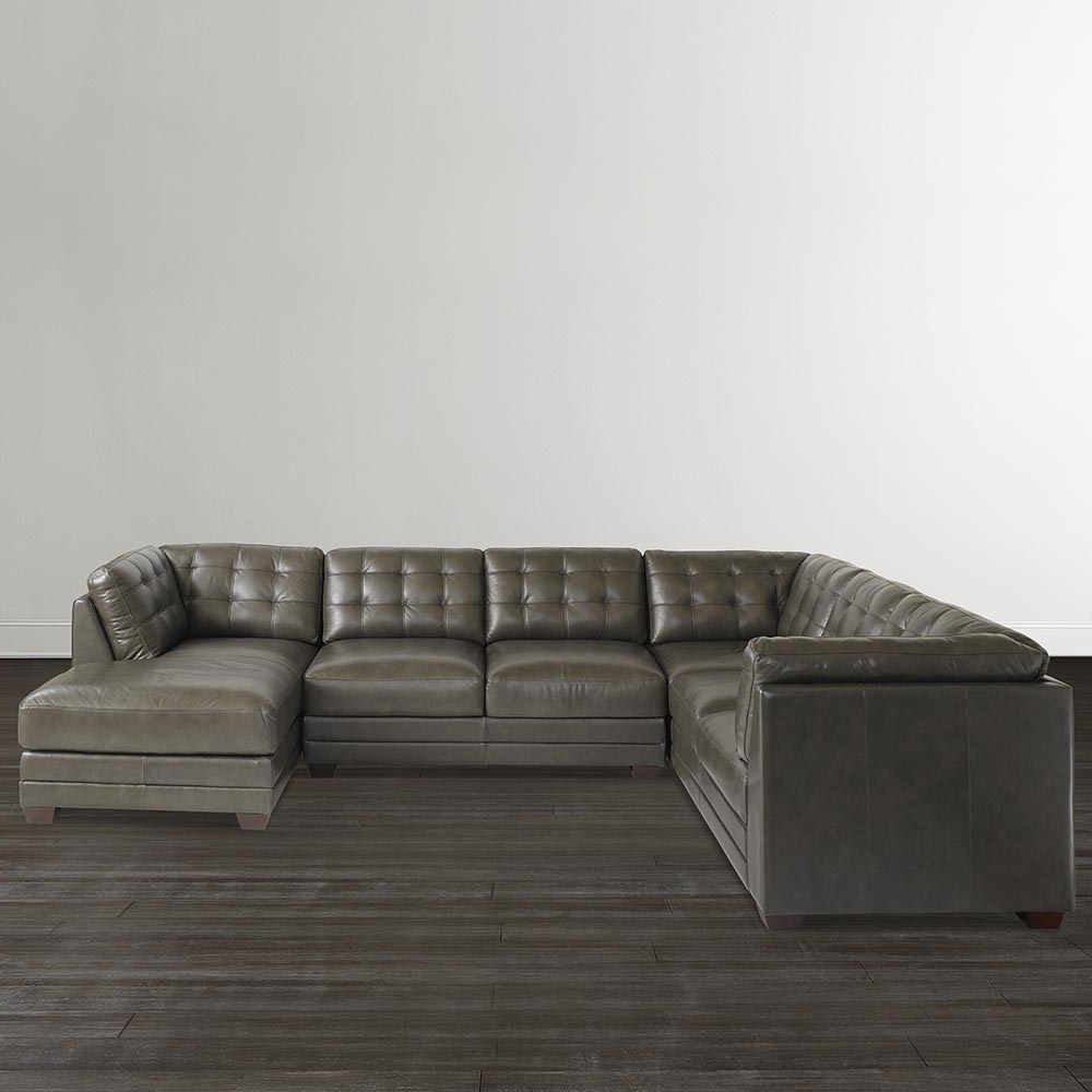 Slate Grey Leather U Shaped Sectional Intended For Favorite Gray U Shaped Sectionals (View 16 of 20)