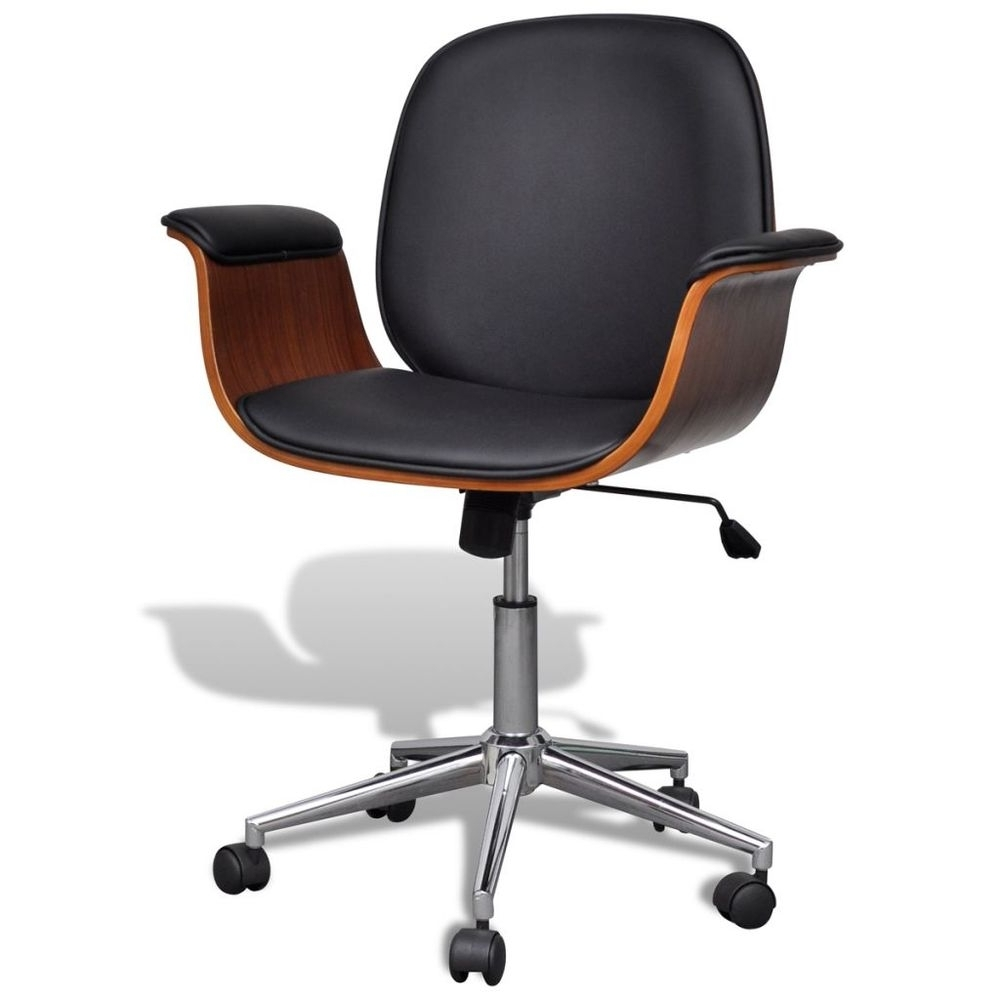 Sleek Style Executive Office Chairs Within Popular Office Computer Chair Adjustable Swivel Wood Faux Leather Seat (View 19 of 20)