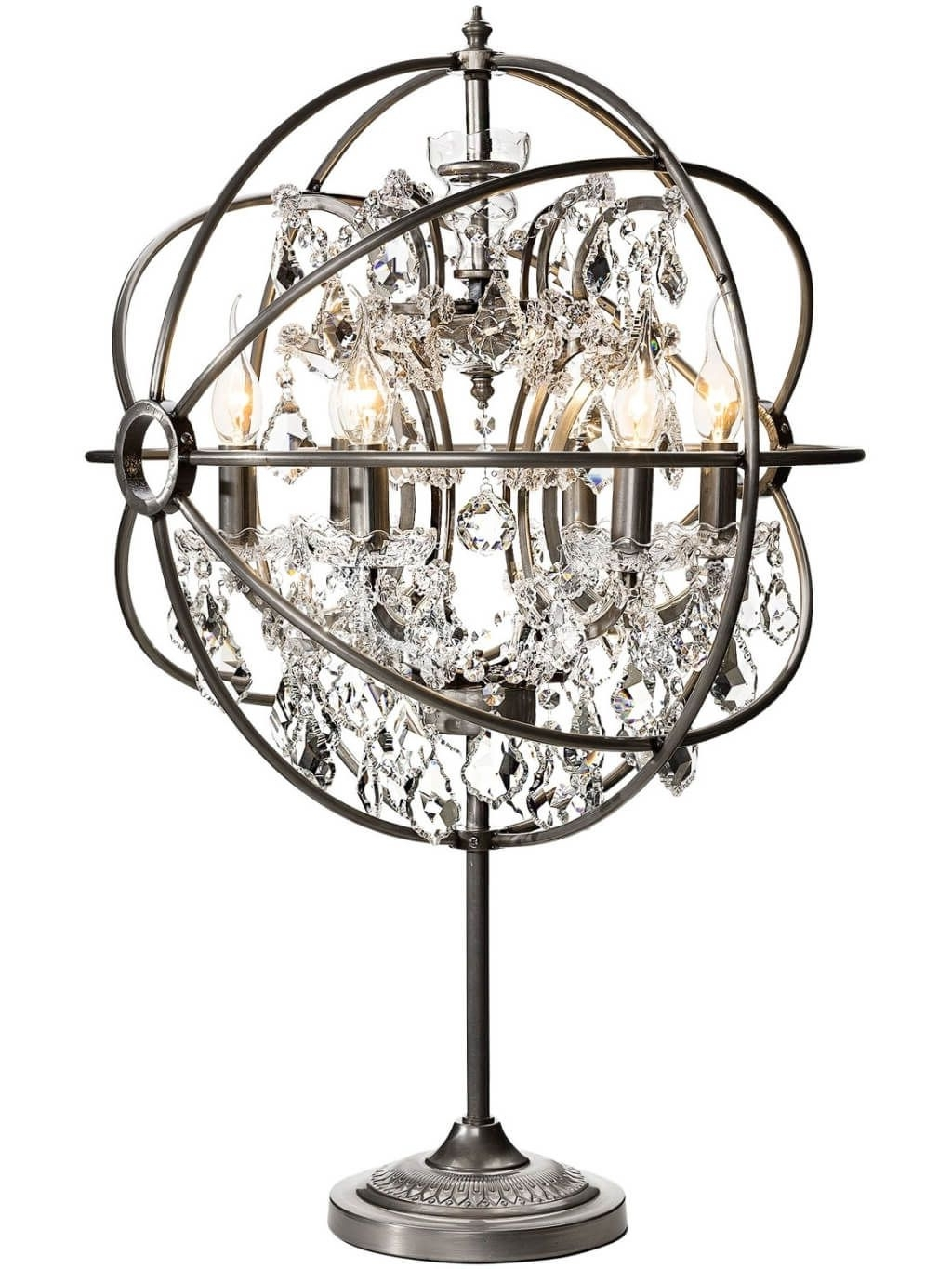Small Chandelier Table Lamps Throughout Popular Lighting: Enticing Small Chandelier Table Lamp With Aluminum Base (View 16 of 20)