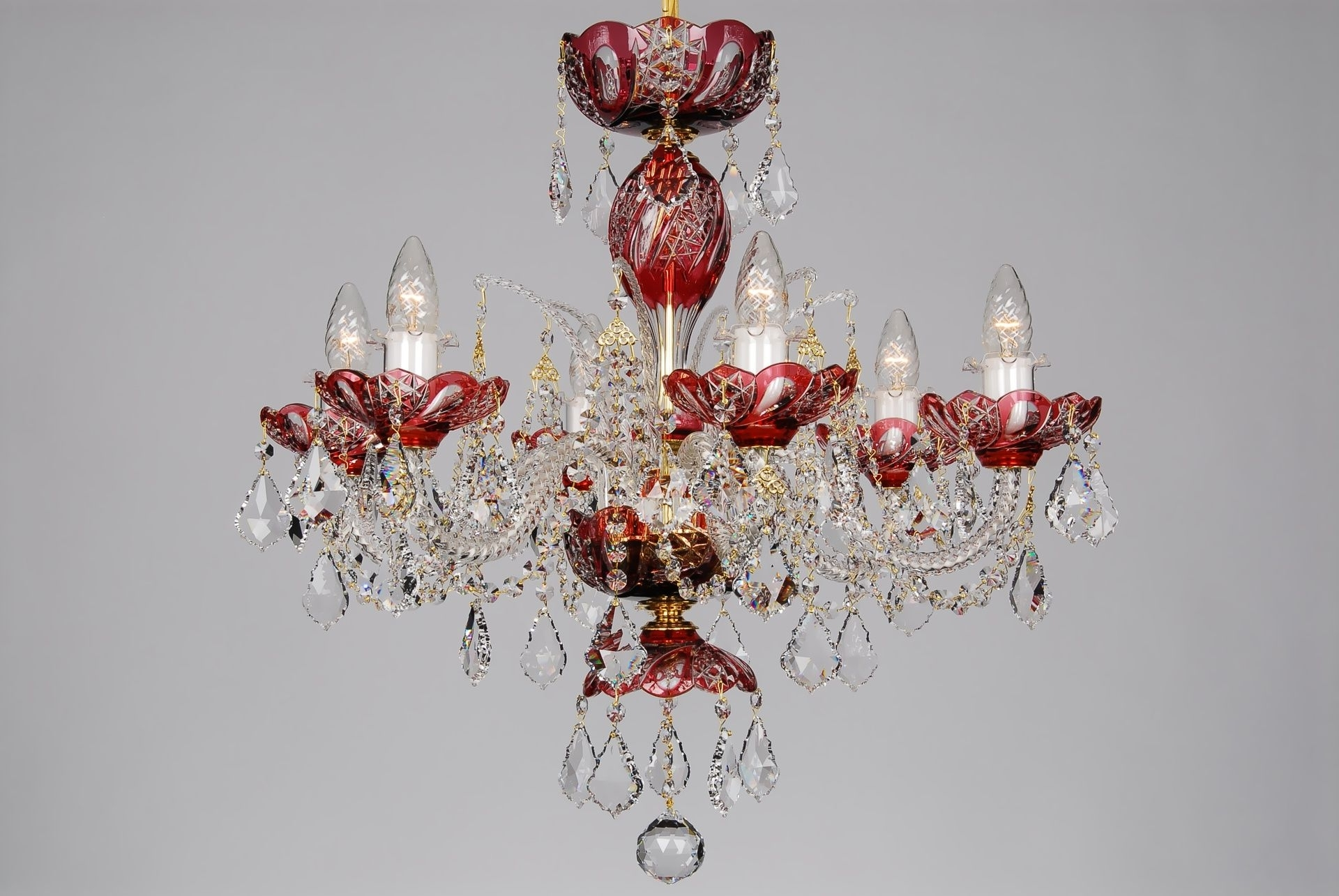 Small Red Chandelier For 2019 A Small Red Crystal Chandelier Decorated With Swarovski Trimmings (View 2 of 20)