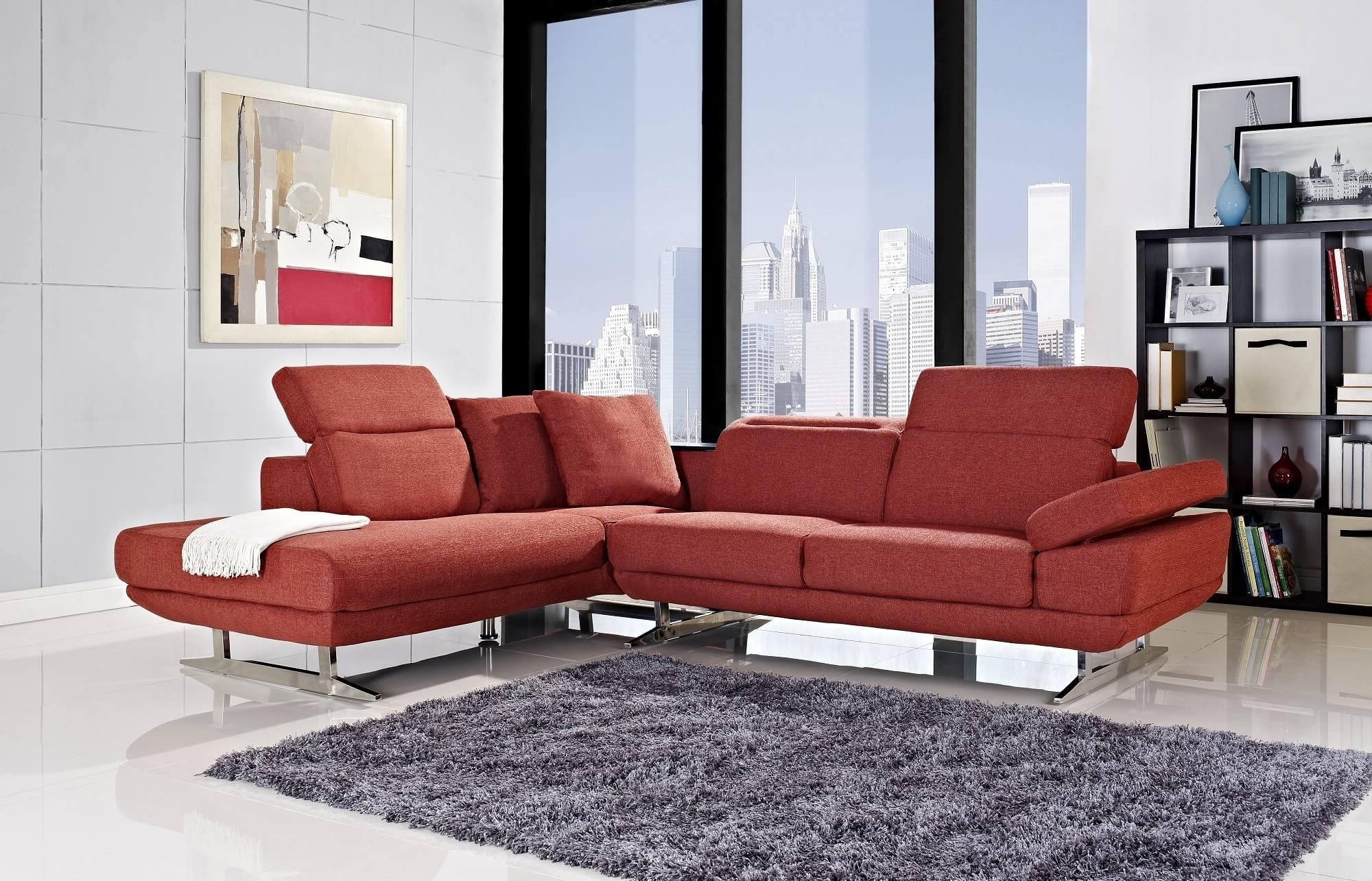 Small Red Leather Sectional Sofas In Most Recently Released 18 Stylish Modern Red Sectional Sofas (View 12 of 20)
