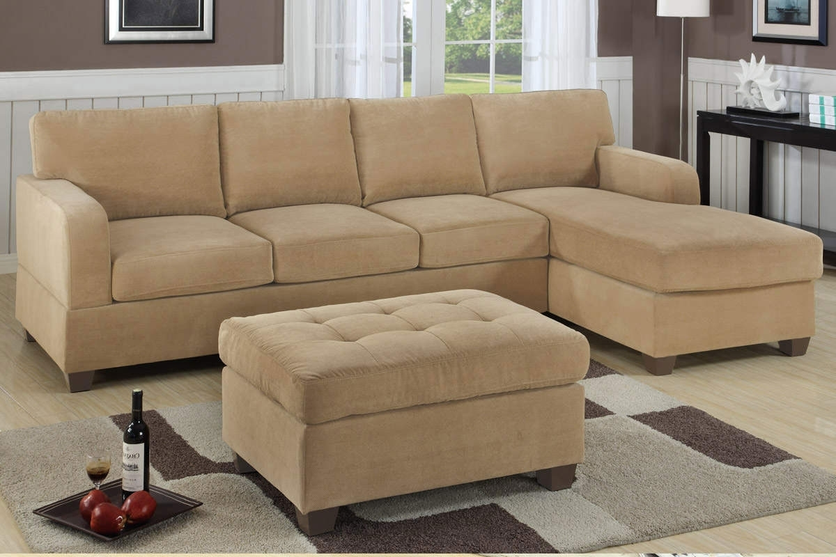 Small Sectional Sofas With Chaise And Ottoman With Best And Newest Small Space Light Brown Sectional Sofa With Chaise And Tufted (Gallery 16 of 20)