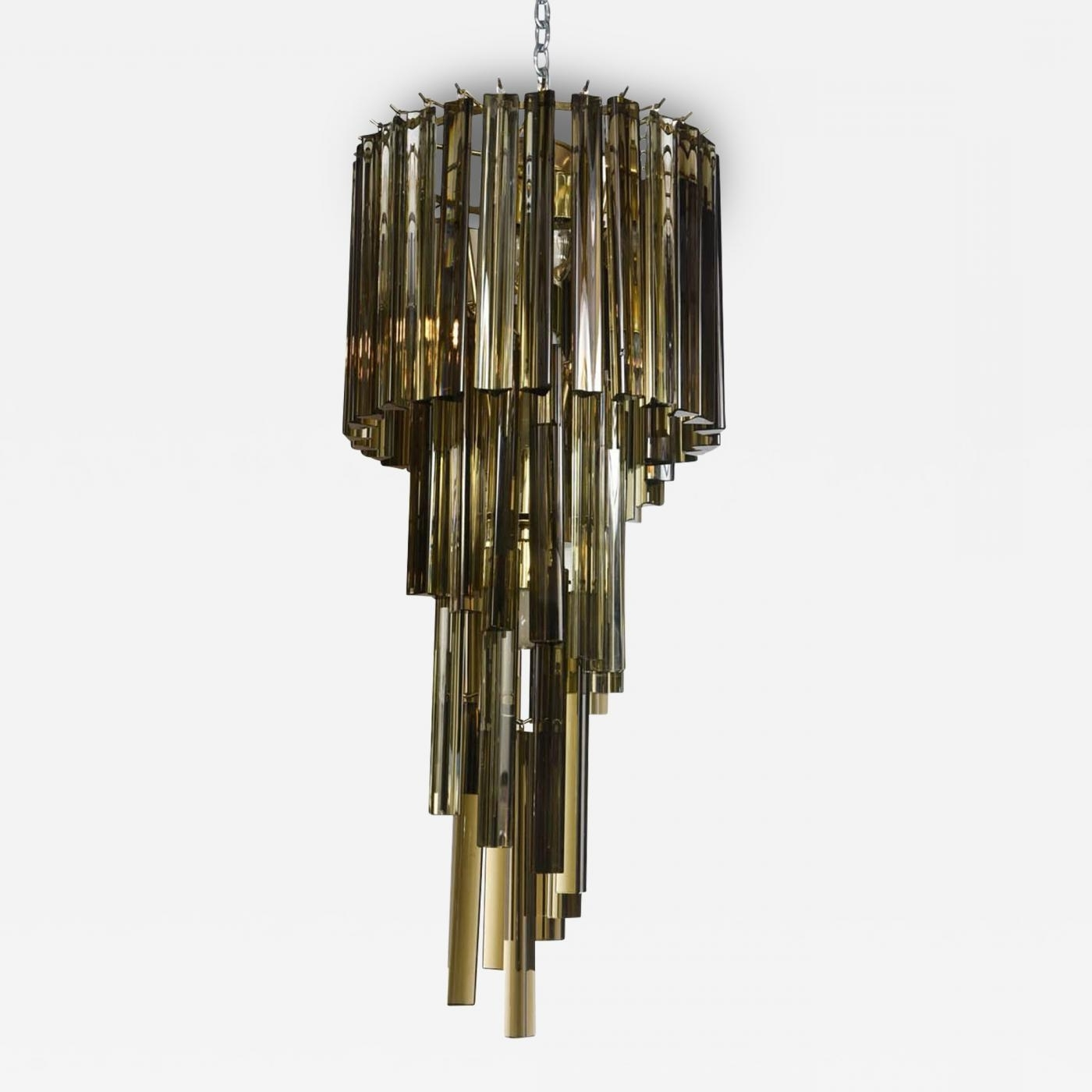 Smoked Glass Chandelier Throughout Latest Camer Glass – Rare Vintage Smoked Triedri Crystal Spiral Chandelier (View 16 of 20)