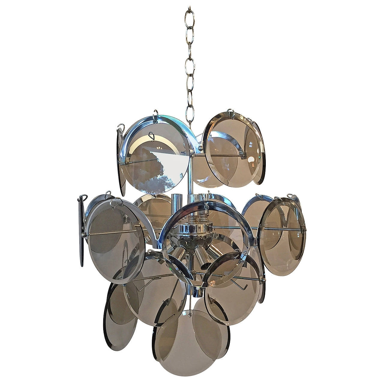 Smoked Glass Chandelier With 2018 Vistosi Italian Mid Century Modern Smoked Glass Beveled Disc And (View 17 of 20)