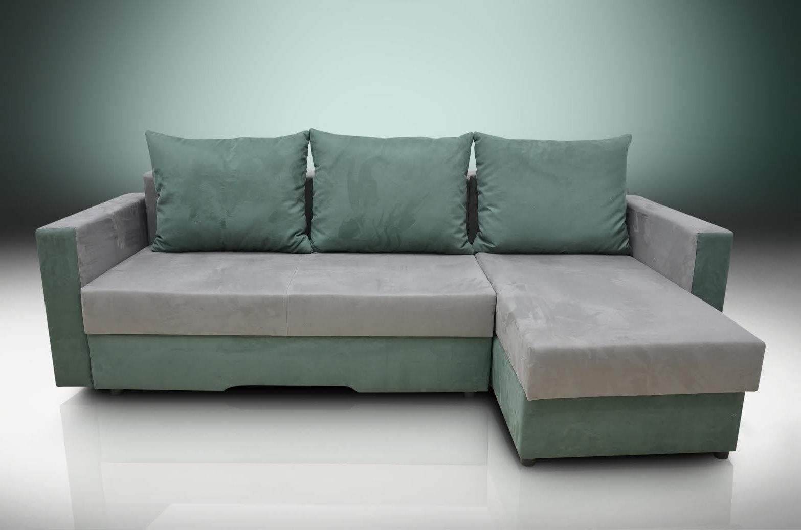 Sofa Bed Bristol Grey/forest Green Faux Suede Fabric Pertaining To 2019 Faux Suede Sofas (View 20 of 20)