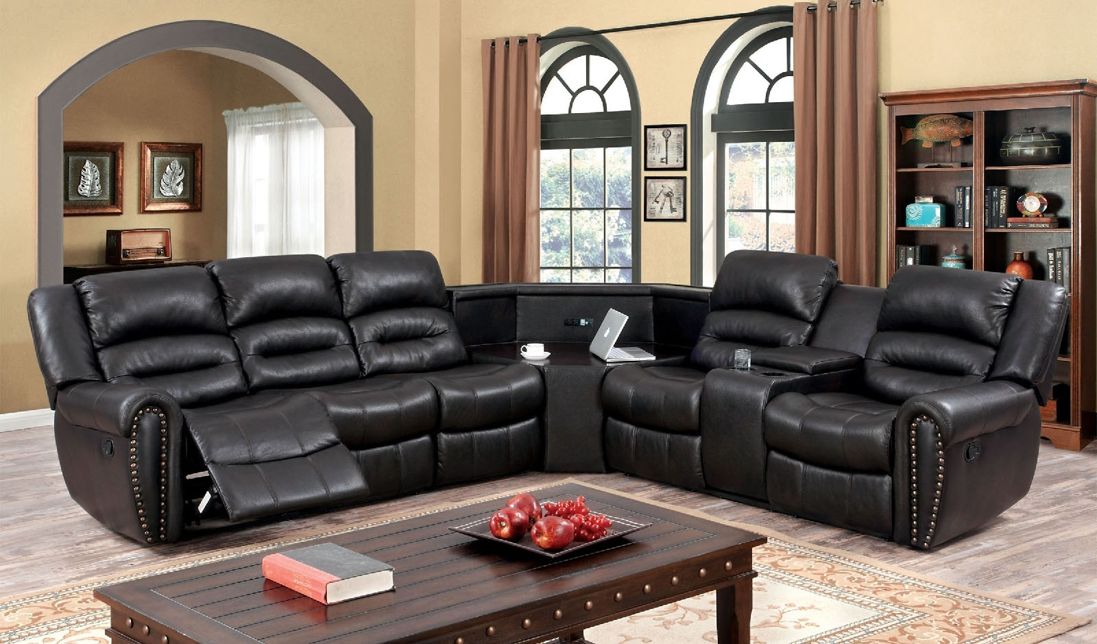 Sofa : Best Power Reclining Sectional Sofas Modern Reclining For Most Popular Sectional Sofas With Cup Holders (View 14 of 20)