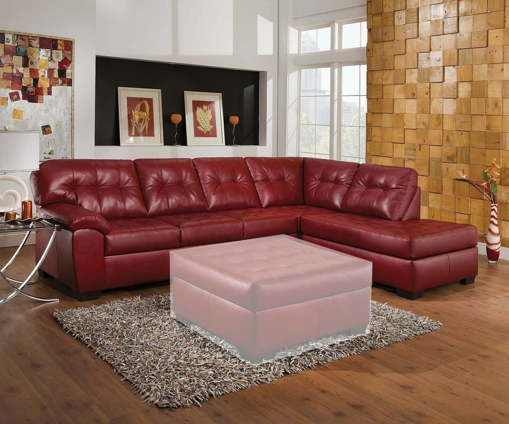 Sofa : Dark Red Leather Sectional Sofa L Shaped Sofadark With Preferred Red Leather Sectional Couches (View 11 of 20)