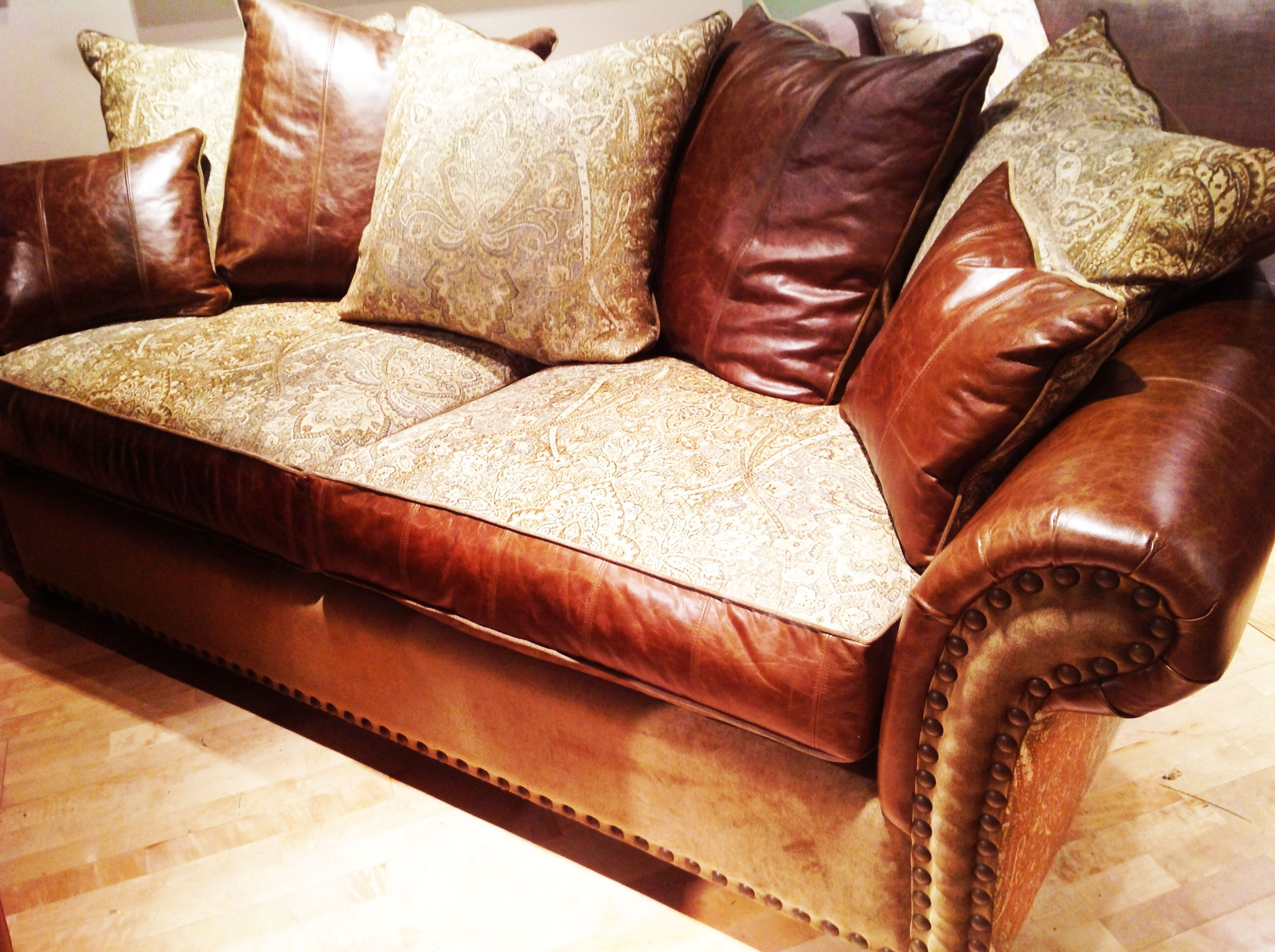 Sofa Harvest: Leather, Fabric, Studs, And Goose Fillthe Rustic In Favorite Leather And Cloth Sofas (View 10 of 20)