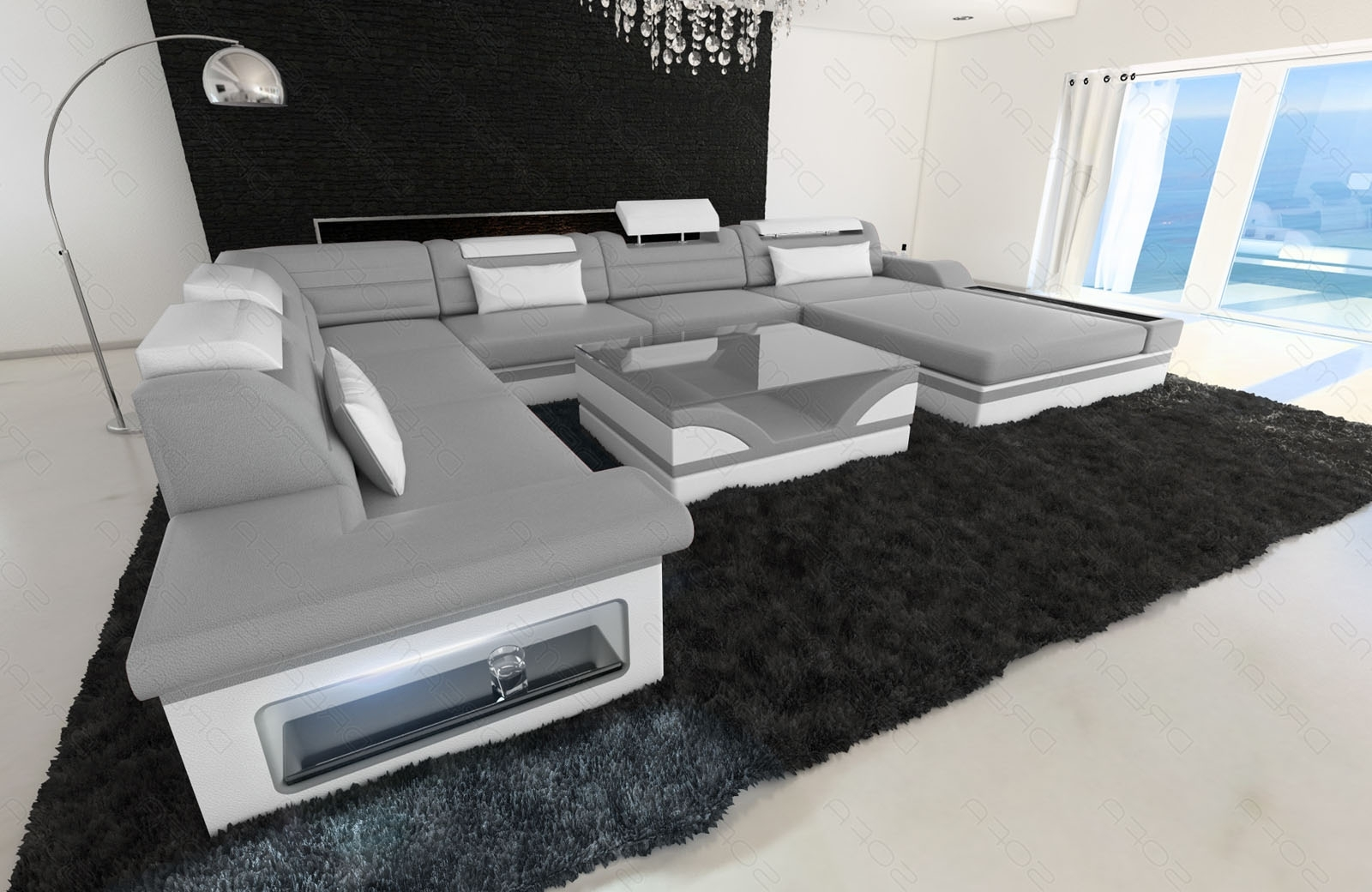Sofa Mezzo Xxl With Led Lights Genuine Leather Luxury Design In Preferred Luxury Sectional Sofas (View 16 of 20)