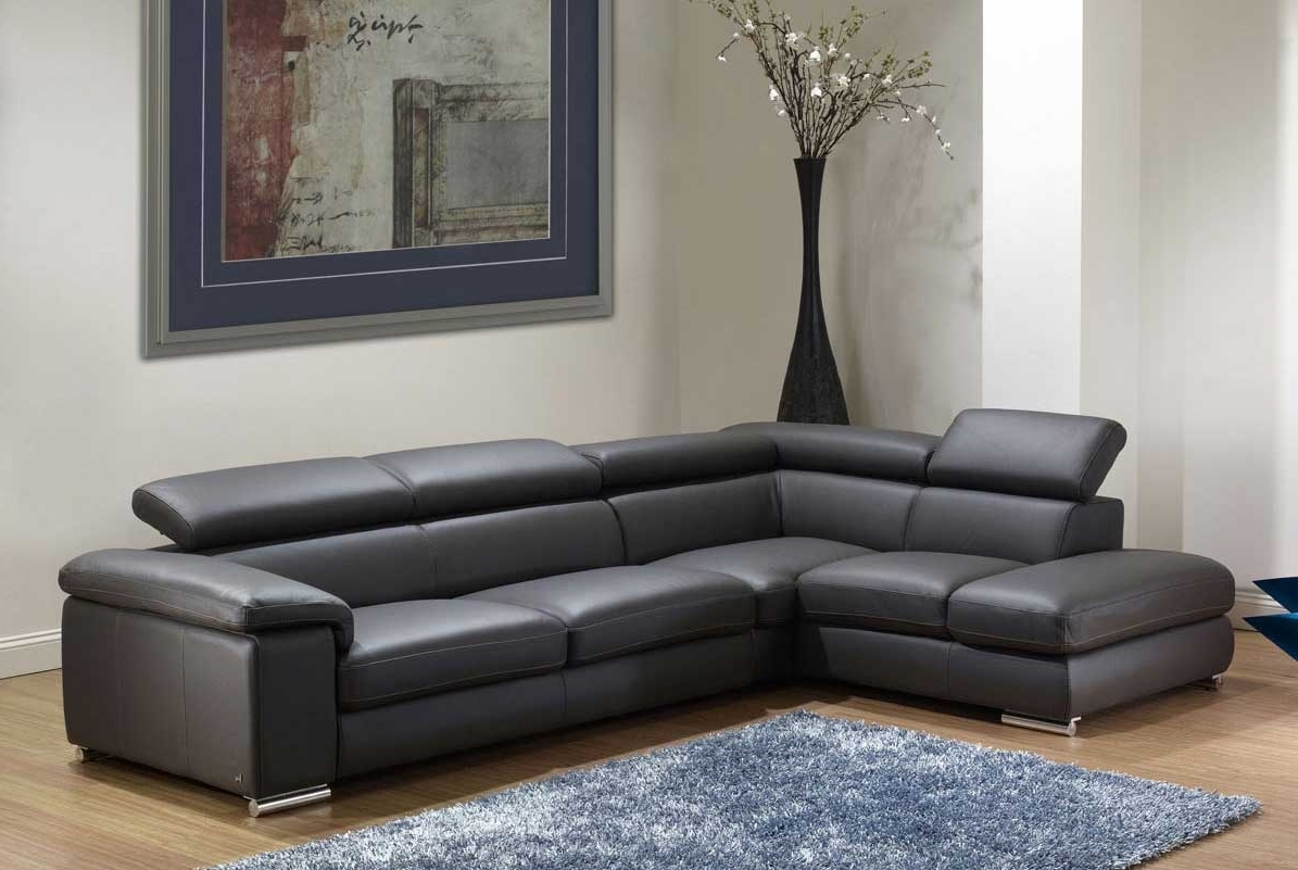 Sofas With Adjustable Legs In Well Known Gray Sectional Leather Sofa With Adjustable Ratchet Headrests (View 19 of 20)