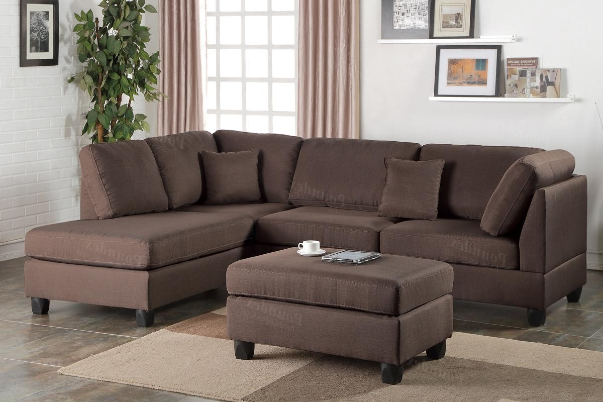 Sofas With Chaise And Ottoman Intended For Latest Brown Fabric Sectional Sofa And Ottoman – Steal A Sofa Furniture (View 14 of 20)