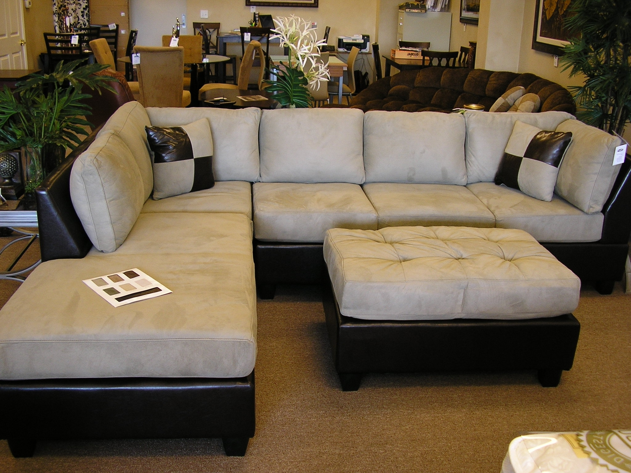 Sofas With Chaise And Ottoman Throughout Fashionable Furniture : Sectional Chaise Lounge Sofa Double Along With (View 16 of 20)