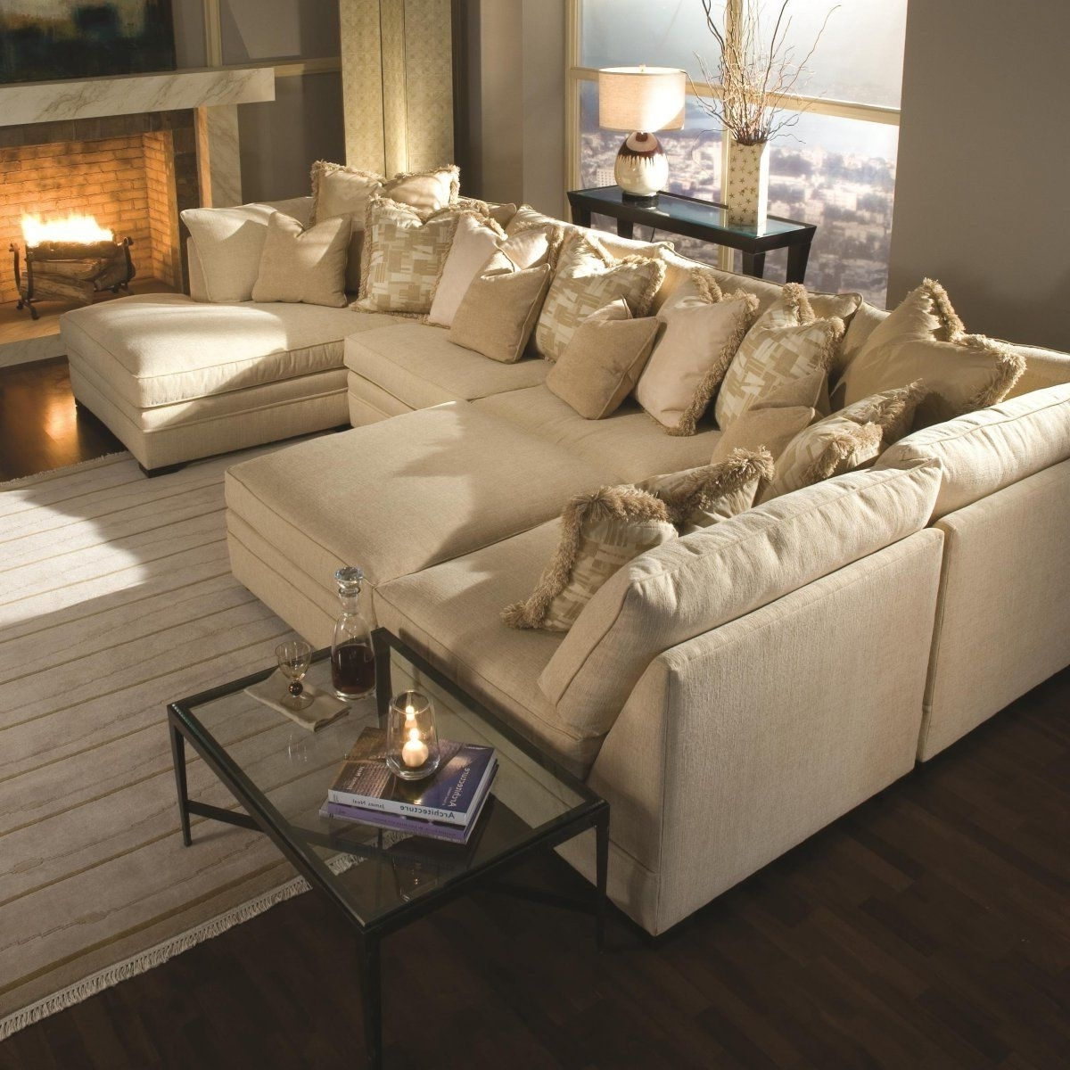 Sofas With Oversized Pillows Throughout Best And Newest Light Brown Sectional Fabric Sofa With Two Chaise Lounge And Piles (View 13 of 20)