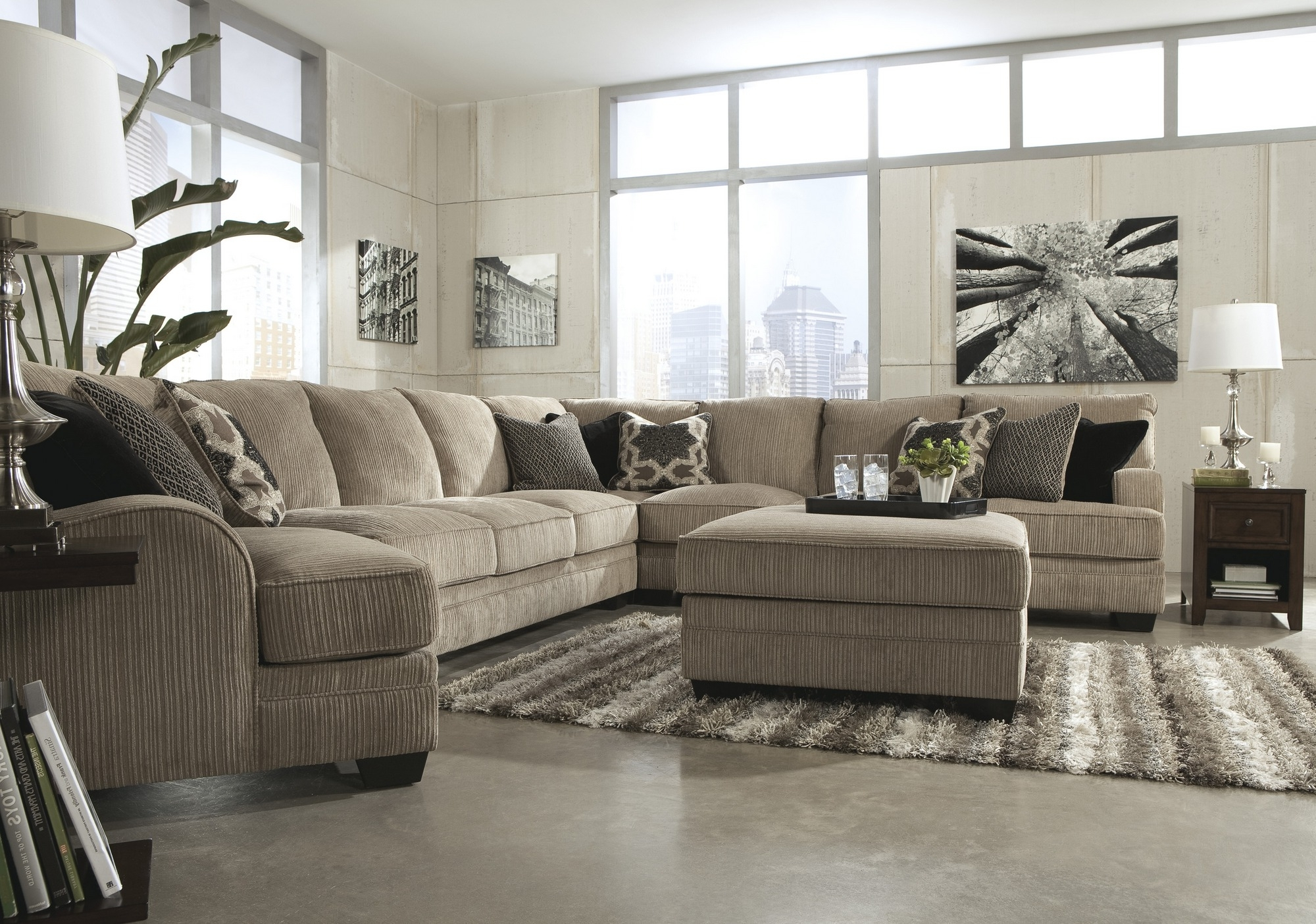 Sofas With Oversized Pillows Throughout Most Current Pale Grey Microfiber Sectional Couch Plus Accent Pillows And (View 14 of 20)