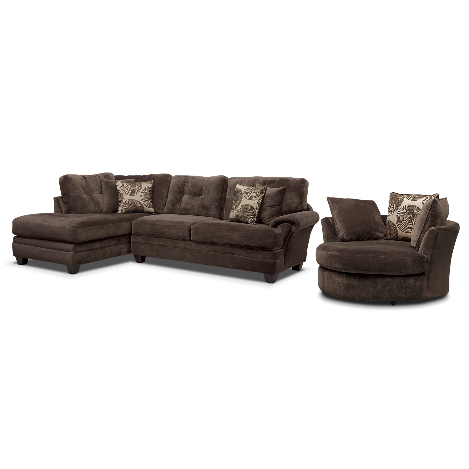 Sofas With Swivel Chair For Popular Cordelle 2 Piece Right Facing Chaise Sectional And Swivel Chair (View 11 of 20)