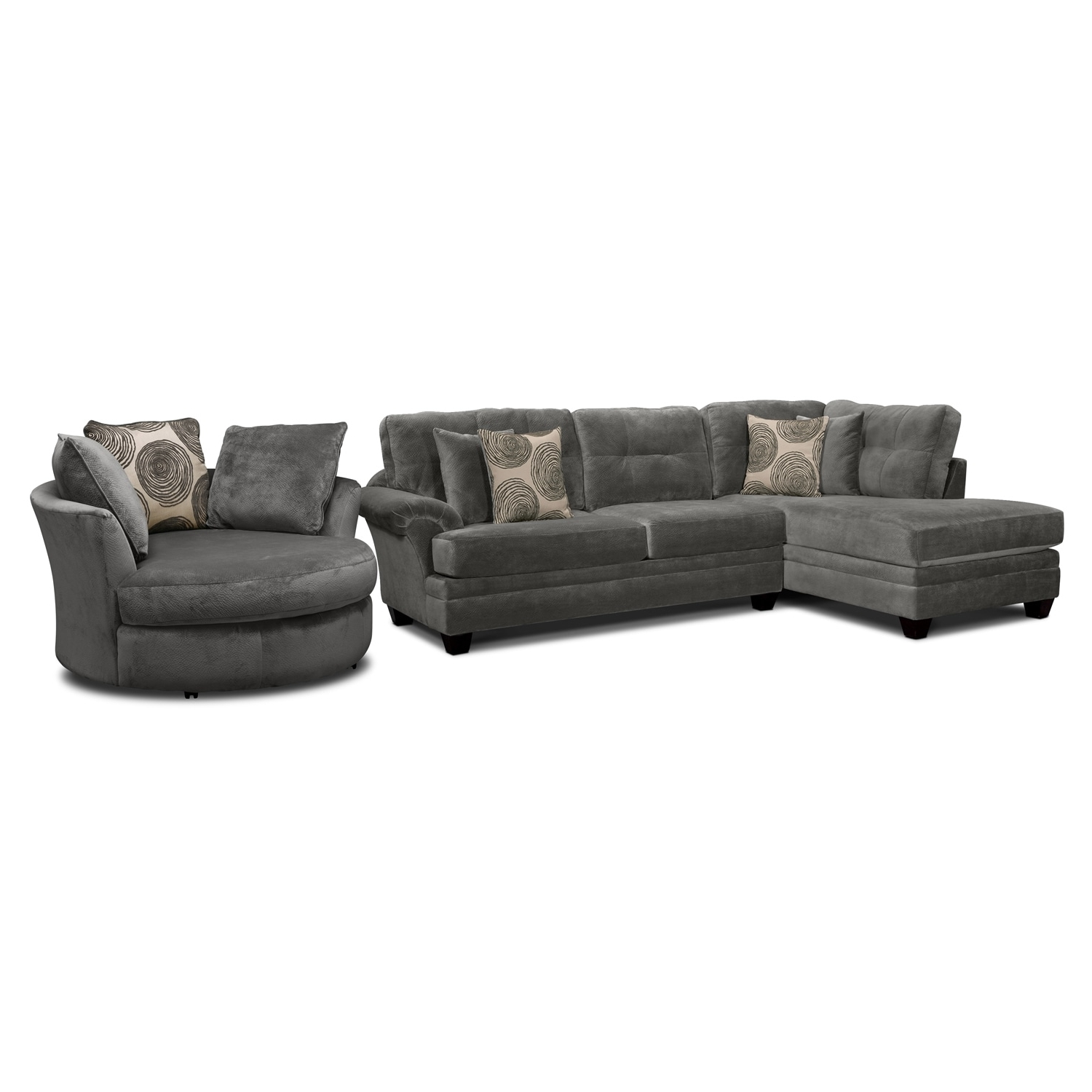 Sofas With Swivel Chair Regarding Most Popular Cordelle 2 Piece Left Facing Chaise Sectional And Swivel Chair Set (View 7 of 20)