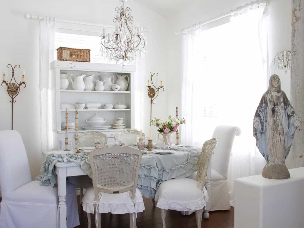 Soothing Shabby Chic Dining Room With White Walls And Small Regarding Fashionable Small Shabby Chic Chandelier (View 17 of 20)