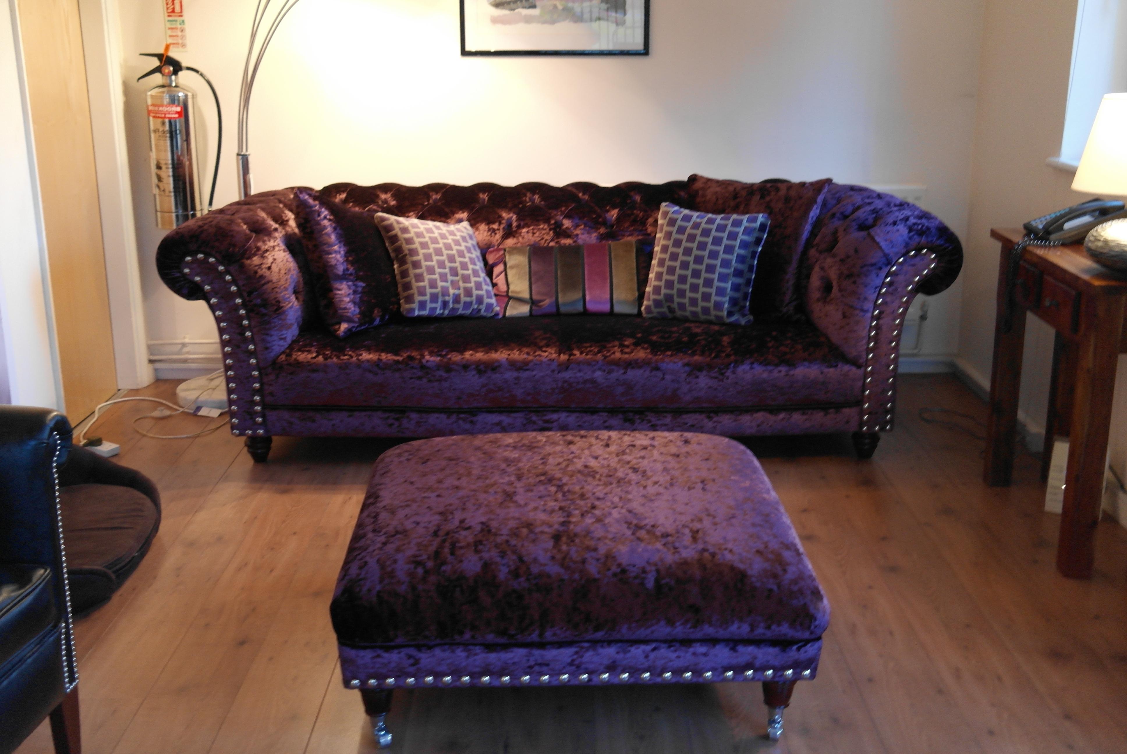 Sophisticated Velvet Tufted Sofa For Living Room Furniture Ideas In Widely Used Velvet Purple Sofas (View 15 of 20)