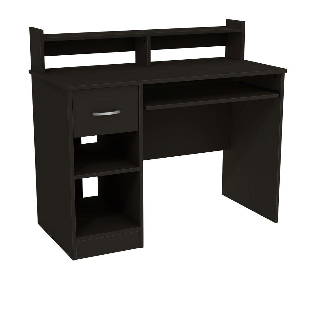 South Shore Axess Solid Black Desk With Hutch 7270076 – The Home Depot With Fashionable Computer Desks At Home Depot (View 16 of 20)