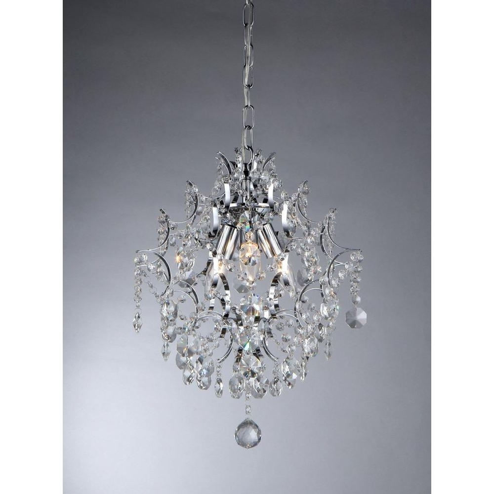 Sparkly Chandeliers Pertaining To Latest Warehouse Of Tiffany Ellaisse 3 Light Chrome Crystal Chandelier (View 16 of 20)