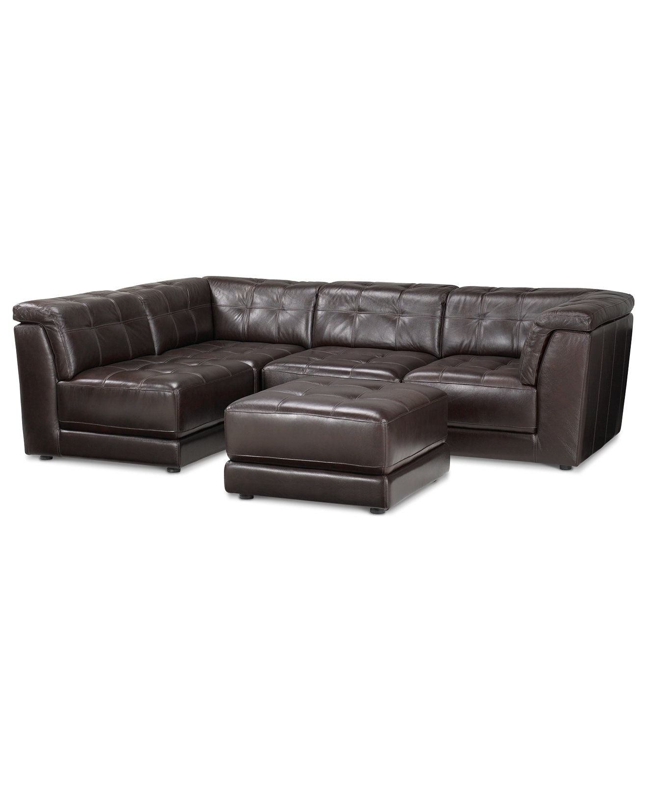 Stacey Leather Sectional Sofa, 5 Piece Modular Pit (2 Armless With Regard To Fashionable Macys Leather Sectional Sofas (View 17 of 20)
