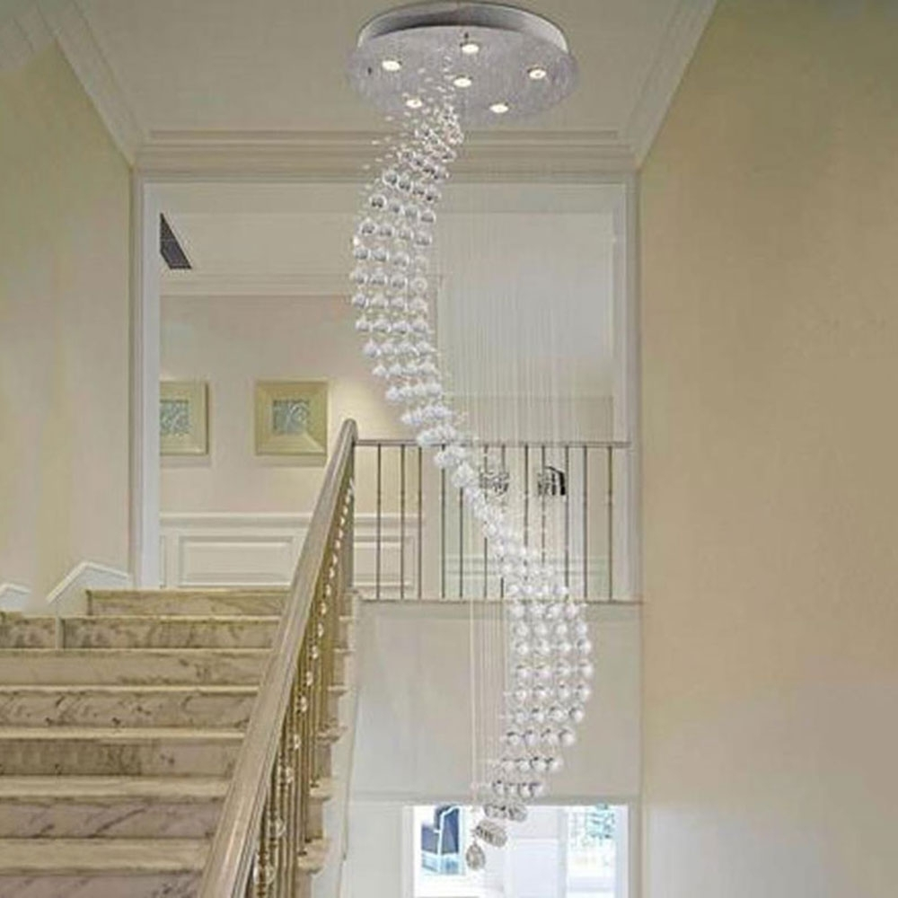Staircase Chandeliers Regarding Recent 50*200Cm Spiral Rain Drop Chandelier Modern Crystal Chandeliers (View 17 of 20)