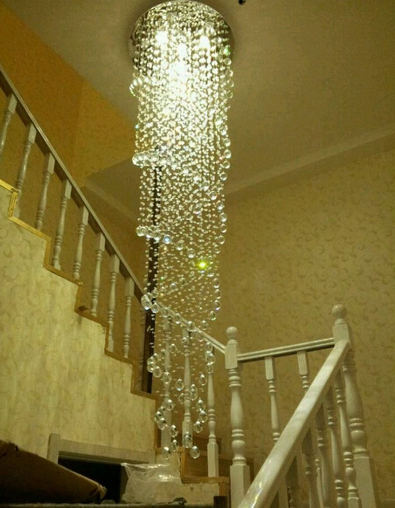 Staircase Chandeliers Within Current Modern Simple Led Chandelier Rotating Staircase Chandelier Crystal (View 4 of 20)