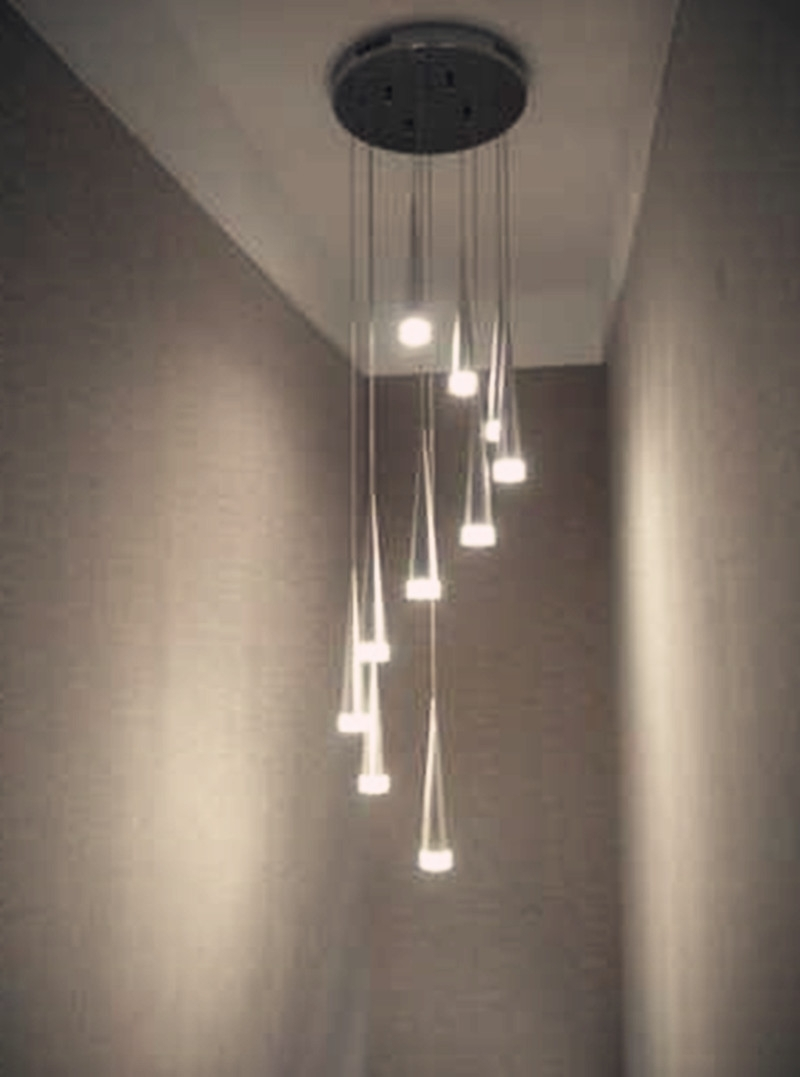 Stairwell Chandelier Lighting Inside Famous Online Shop 10 24 Pcs Taper Led Spiral Stair Chandelier Lamp Hot (View 14 of 20)