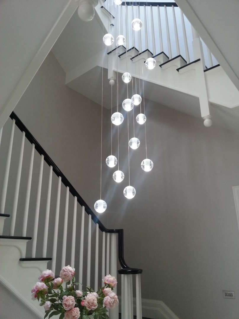 Stairwell Chandelier Lighting Within Trendy Luxury Chandelier Light Fixture Air Bubble Long Stairwell Chandelier (View 15 of 20)