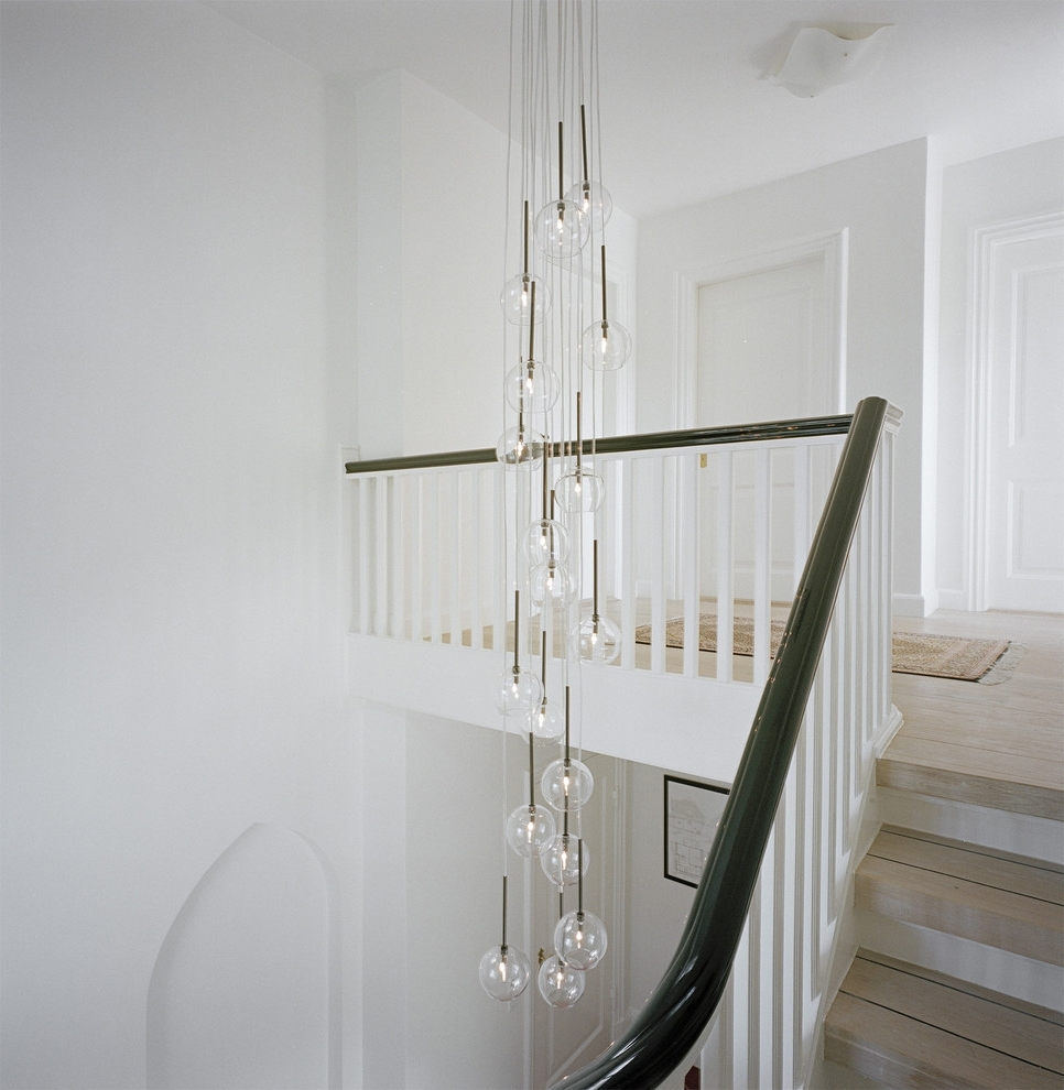 Stairwell Chandelier Lighting Within Well Known Stairwell Lighting Staircase Transitional With Black Handrail Bubble (View 16 of 20)