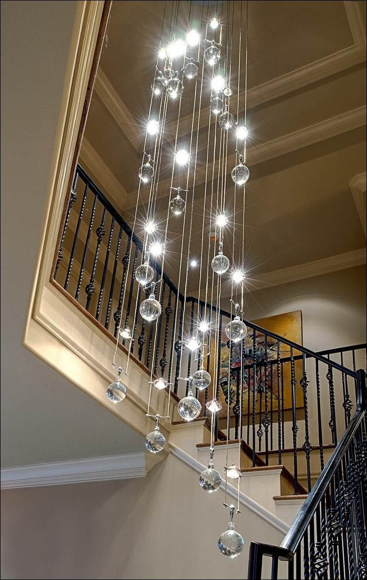 Stairwell Chandelier With Regard To Latest Decoration, Contemporary Crystal Chandelier Decorating Area Around (View 17 of 20)